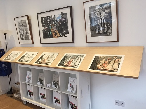 The staged proofs for 'Death Goes Shopping' at Enitharmon in 2018