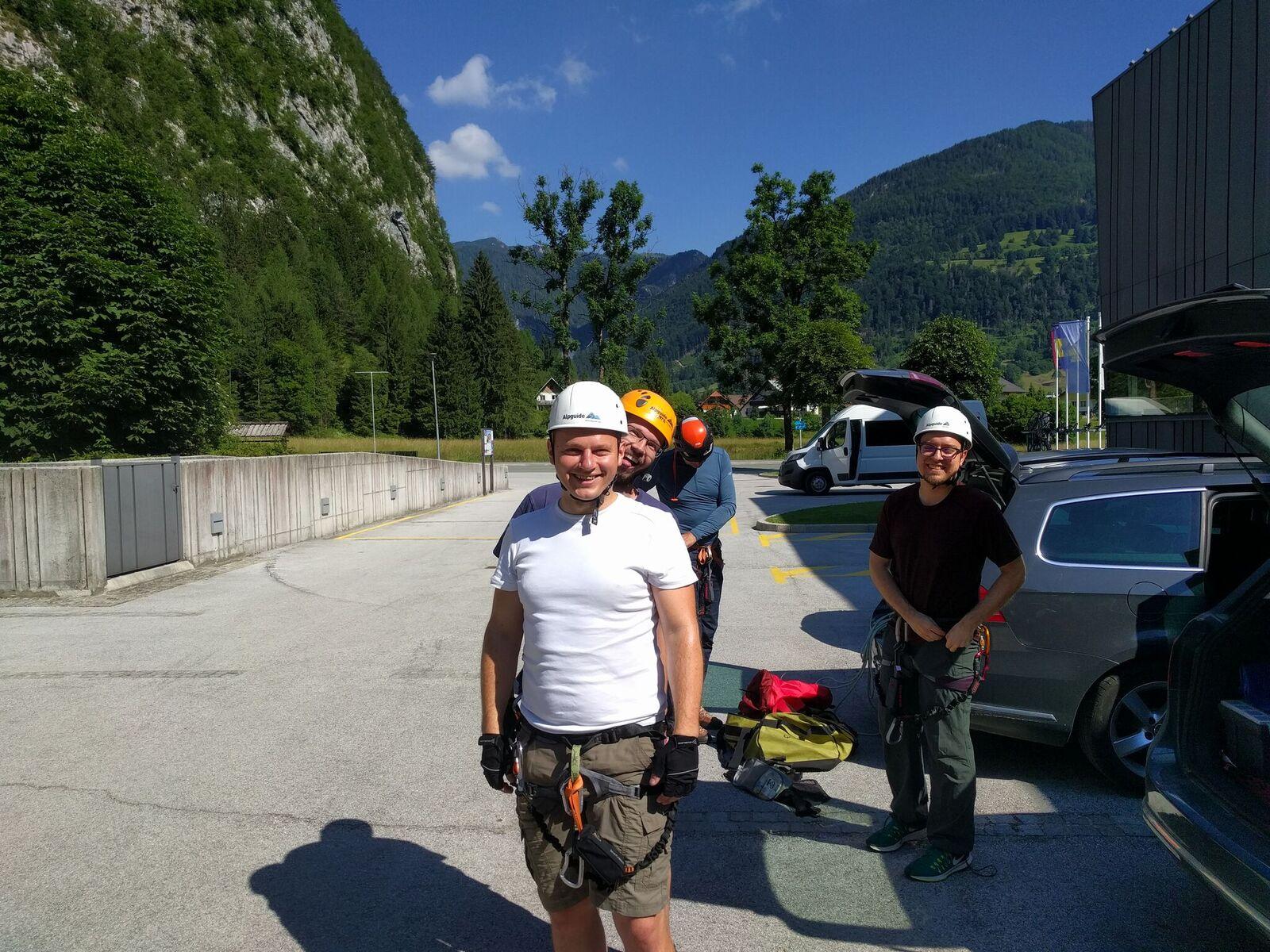 Our team wearing climbing equipment