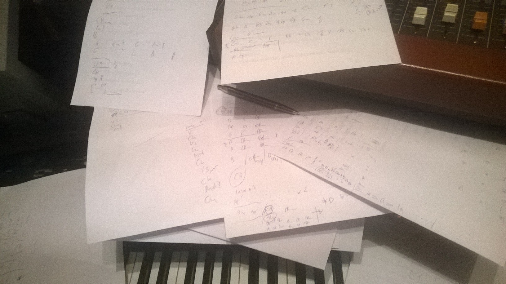 Bespoke Piano Reocording -A productive day at Vintage Keys - my crib notes for 7 pieces of music - using my mind, ears and a bit of pianistic license. Who needs sheet music eh?