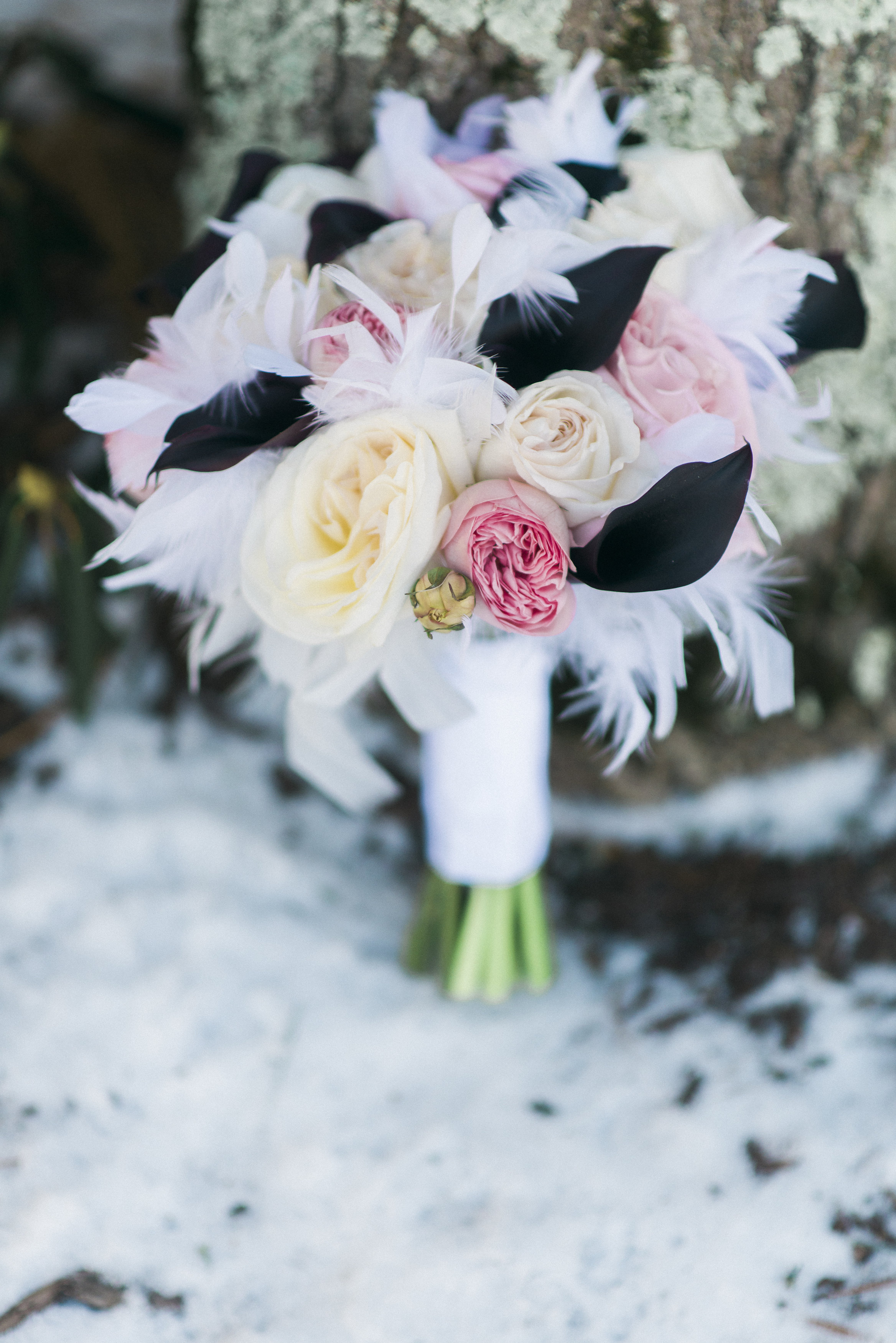 Winter Bouquet captured by Amber Rebecca Photography.