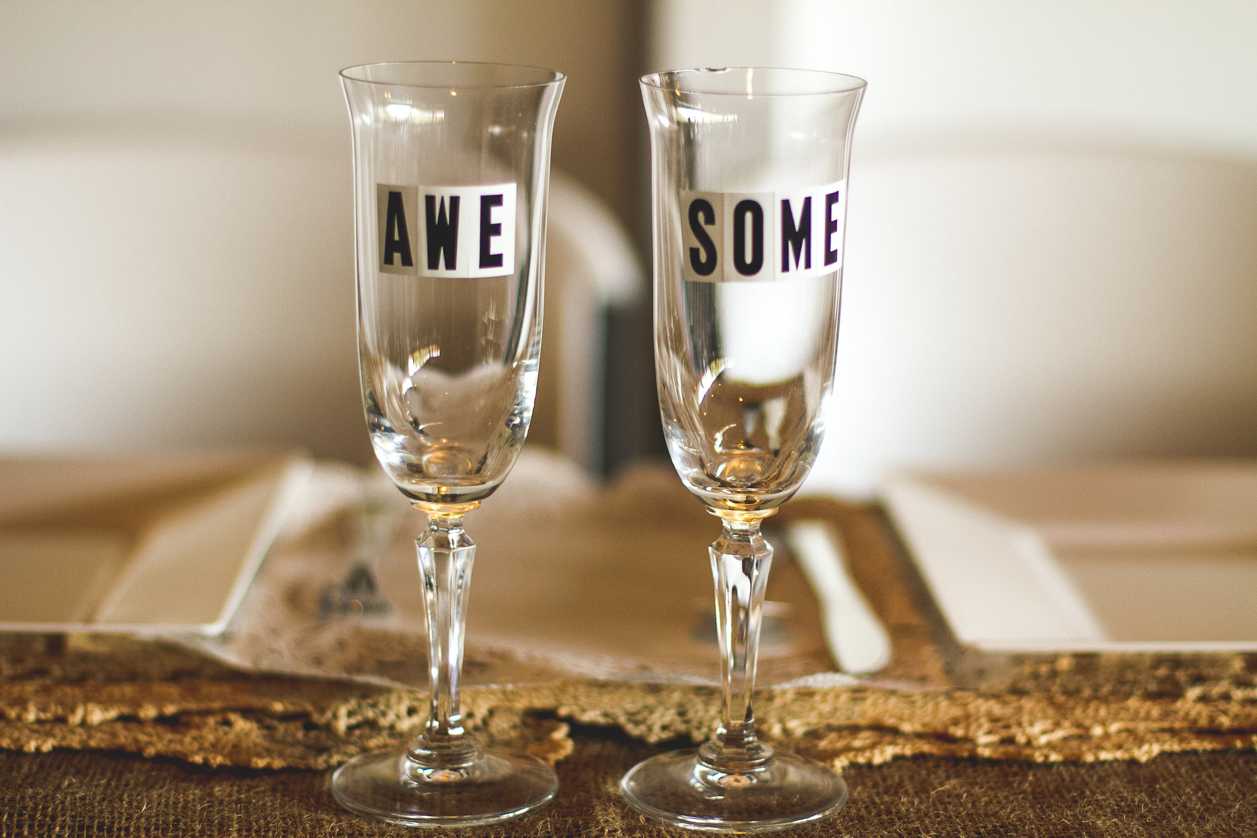 Our toasting glasses from our wedding.