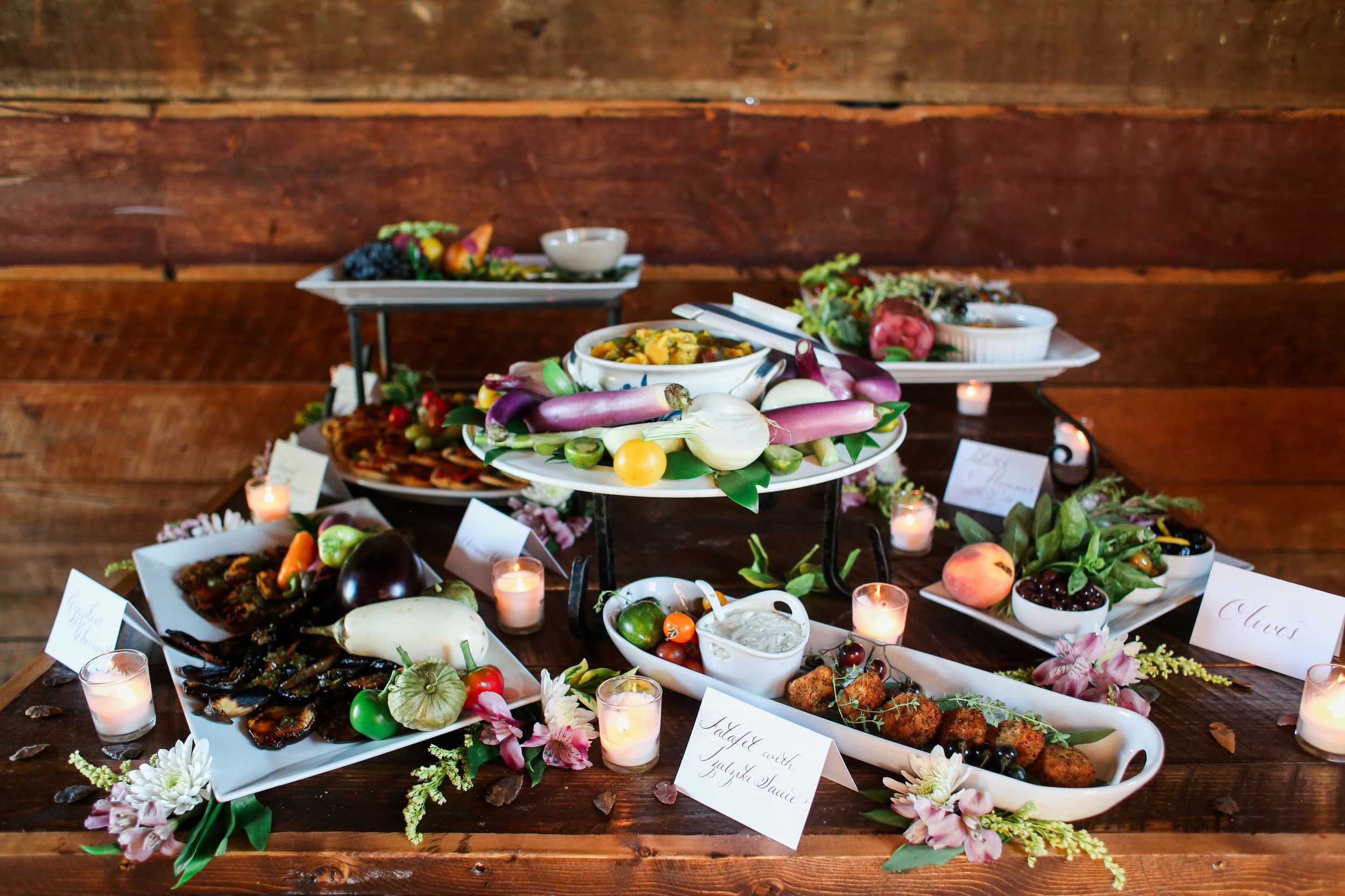 Food Spread by Epicurean Delight, Photo by Photography by Seneca, Friedman Farms