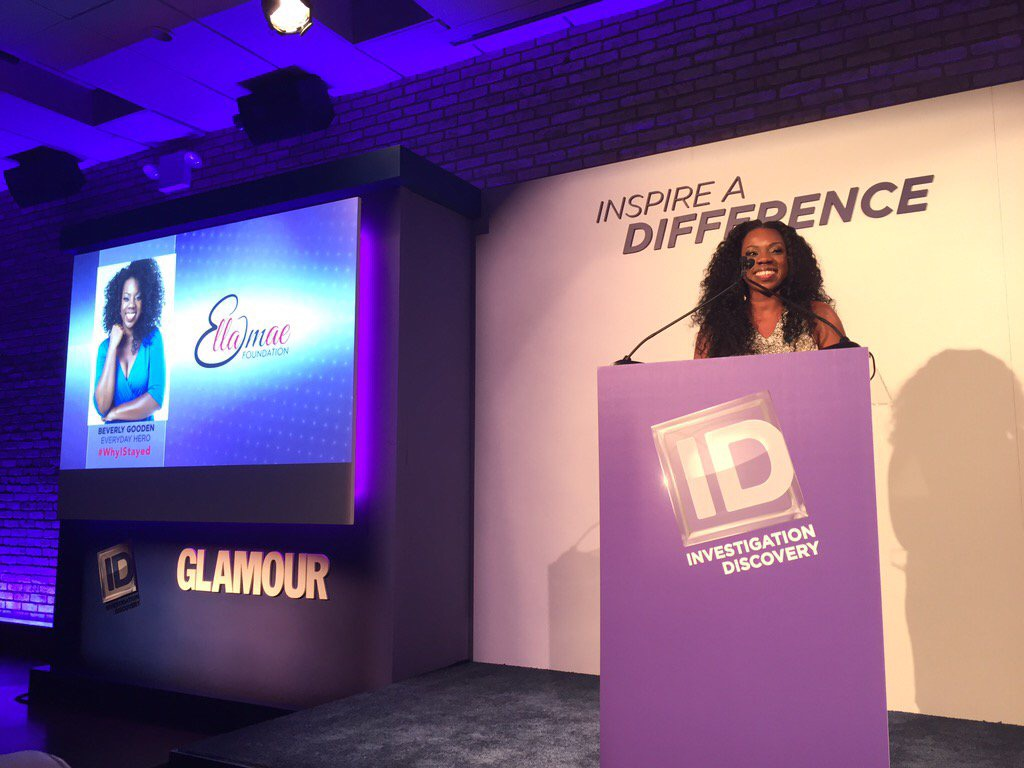 EMF Founder, Beverly Gooden, accepting the 2015 Inspire A Difference Everyday Hero Award from Glamour Magazine and Investigation Discovery