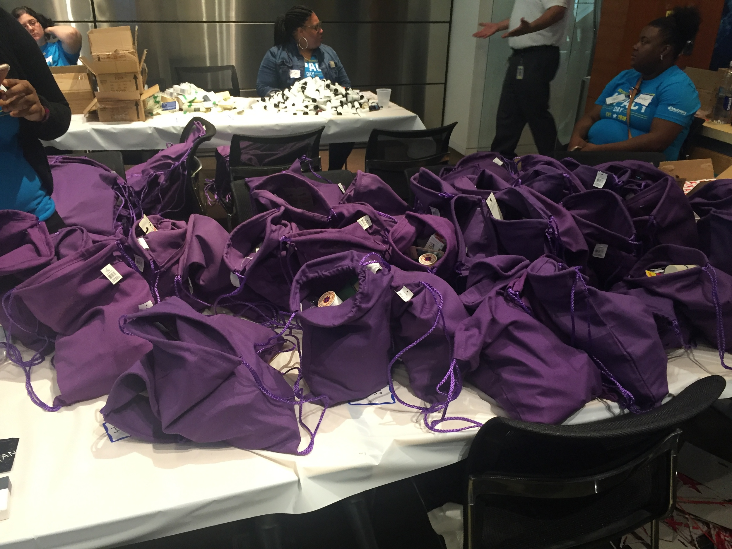 Discovery Communications employees packing Bolt Bags for Impact Day 2016!