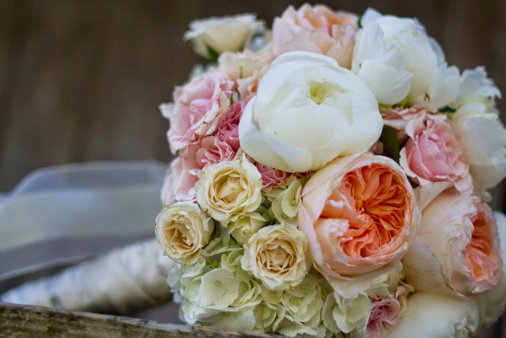 White Peonies, Juliet David Austin Roses, White Hydrangea, Pink and Blush Spray Roses.  RPM Photography and Cinematography