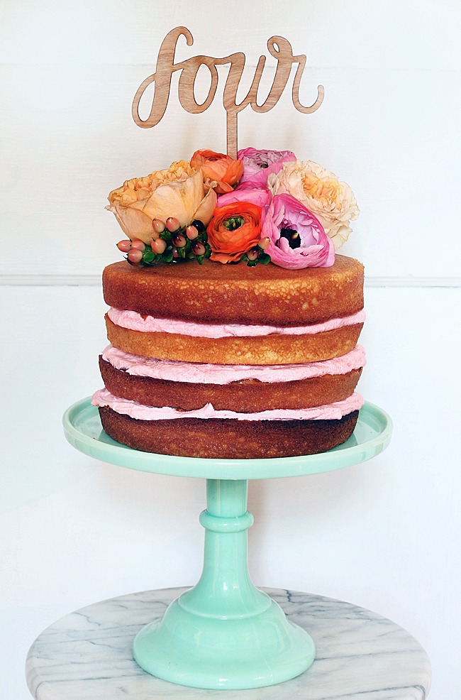 Naked Cake With Flower and Table Number Topper