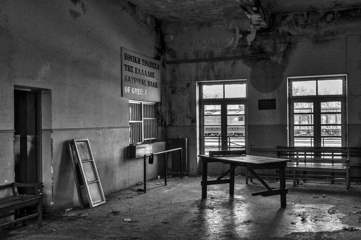 Bank office in Idomeni's train station. With a deep economic crisis Greece is trying to manage the welcoming of a massive refugee influx. Thousands of people arrived everyday to this country that serves as the main gate of entry to Europe. Idomeni, Greece, January 2016.