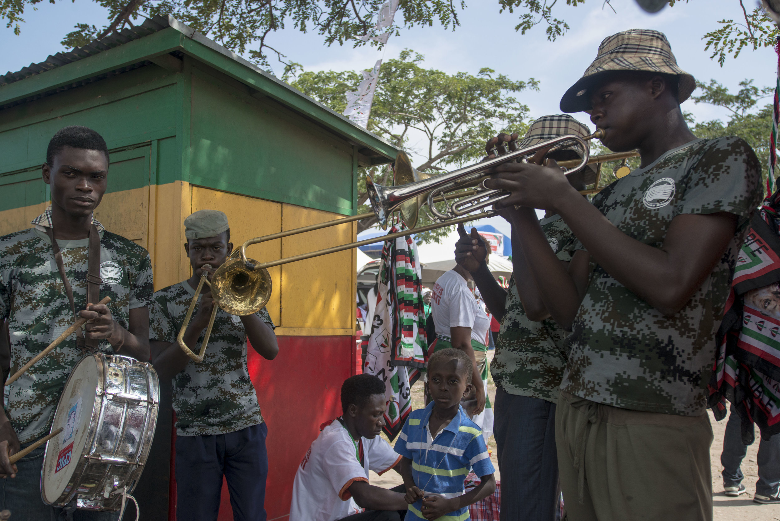 Musician practicing before a rally in support of NDC and John Dramani Mahama starts in Tema town, Accra