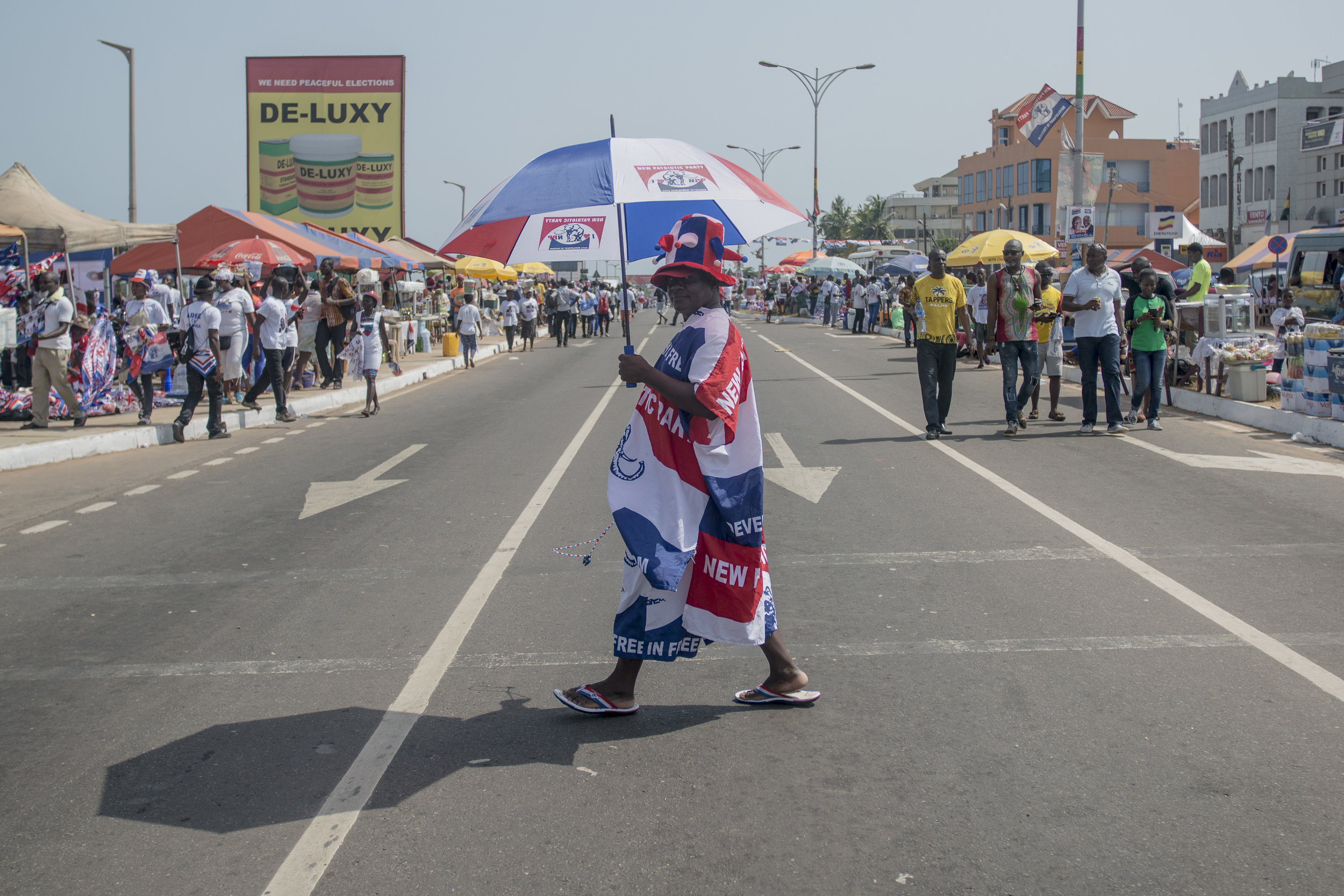 NPP (New Patriotic Party) supporter heading to the last NPP political rally, Grand Finale, in Accra ahead the December 7th General Election