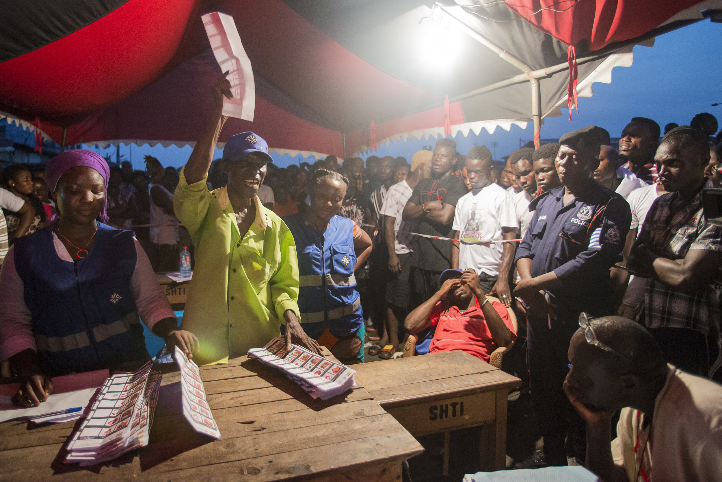 Vote counting after polling stations closed on 7th December Ghana's General Election Day