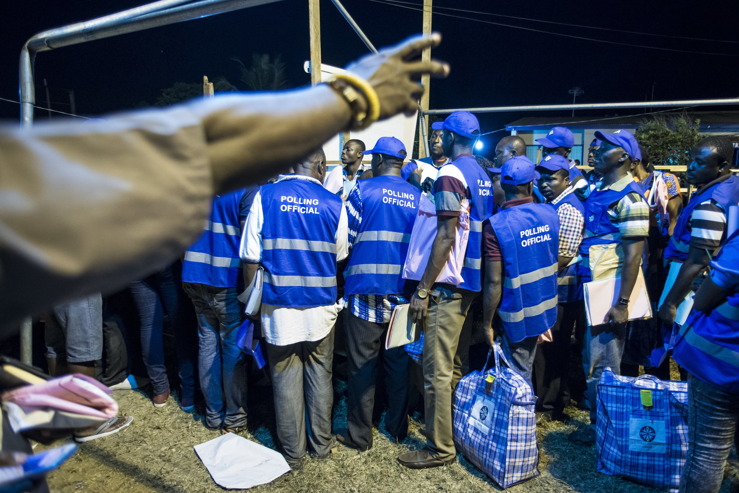 Election Commission volunteers gather in a Coalition Center in Teshie neighbourhood, Accra, to prepare for counting casted ballots during 7th December General Election Day