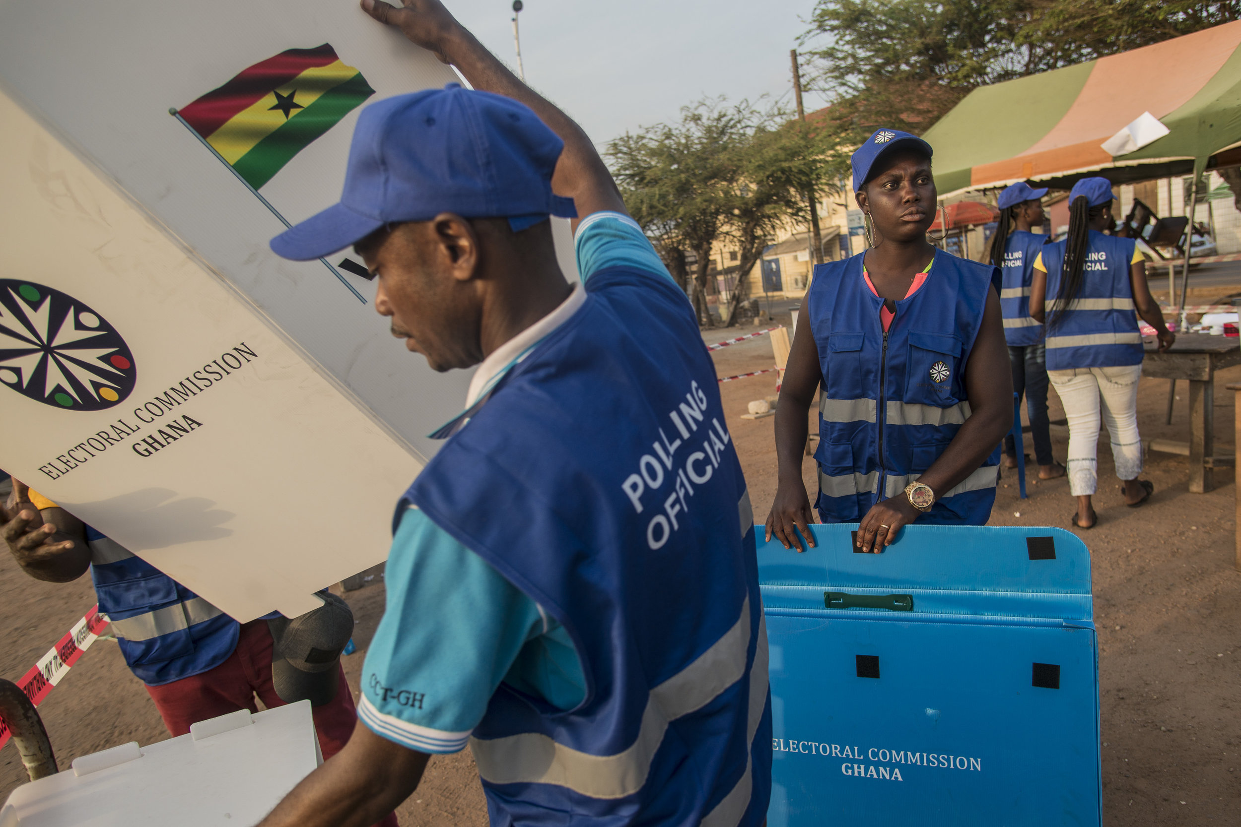 Polling officials preparing a polling station in James Town Accra during Ghana's General Election voting day