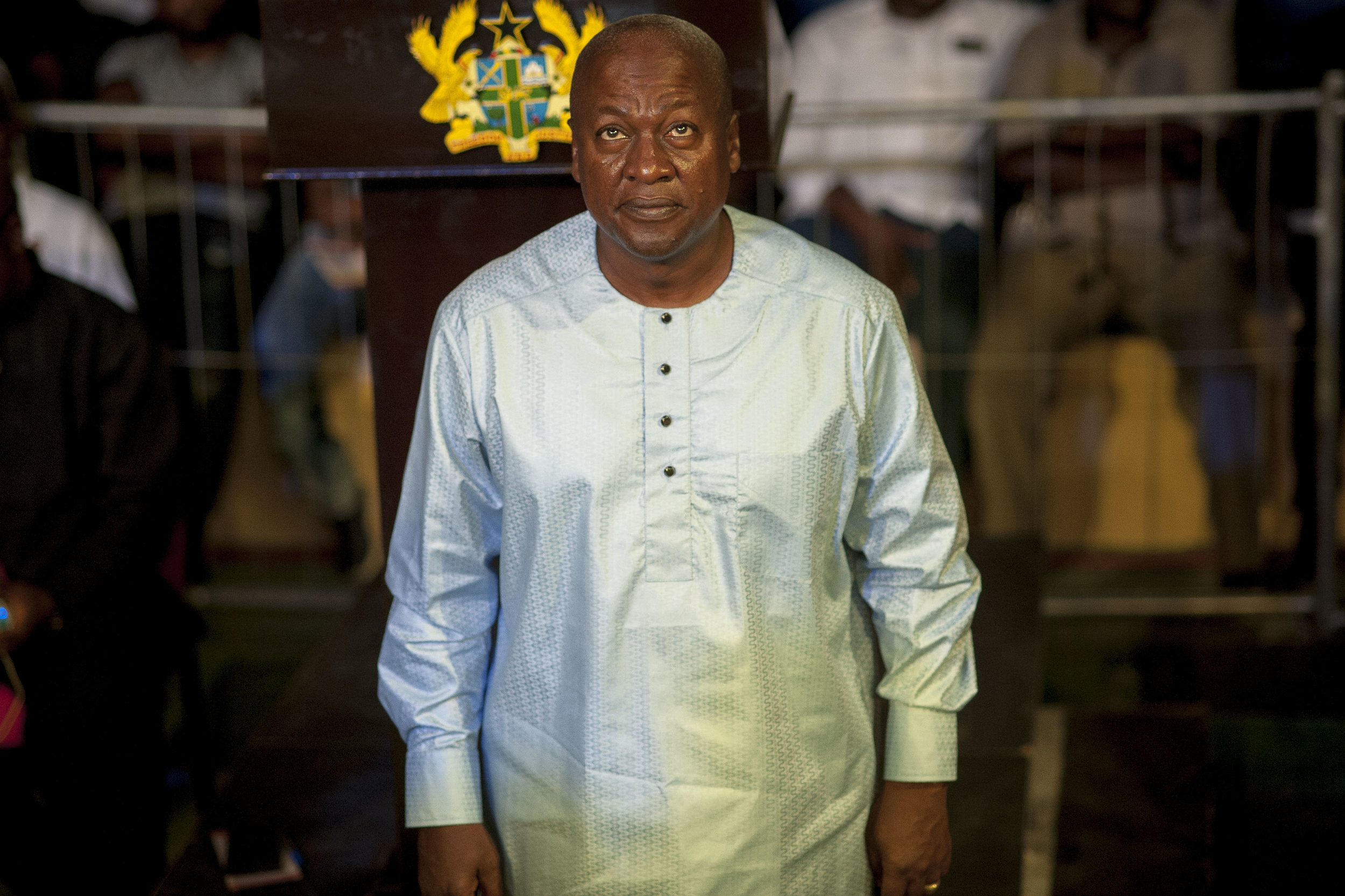 John Dramani Mahama, president of Ghana and National Democratic Congress main candidate for the next general election on 7th December, during the opening of the new Bukom Boxing Arena in Accra
