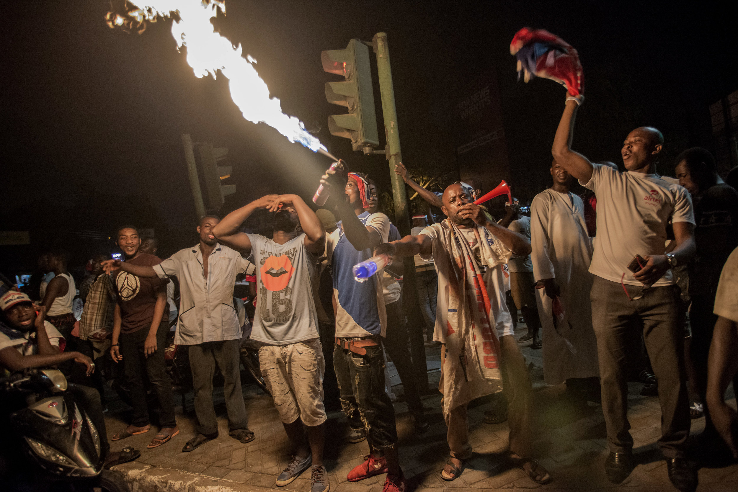NPP supporters in Accra celebrating Nana Akufo-Addo win on the December 7th General Election in Ghana