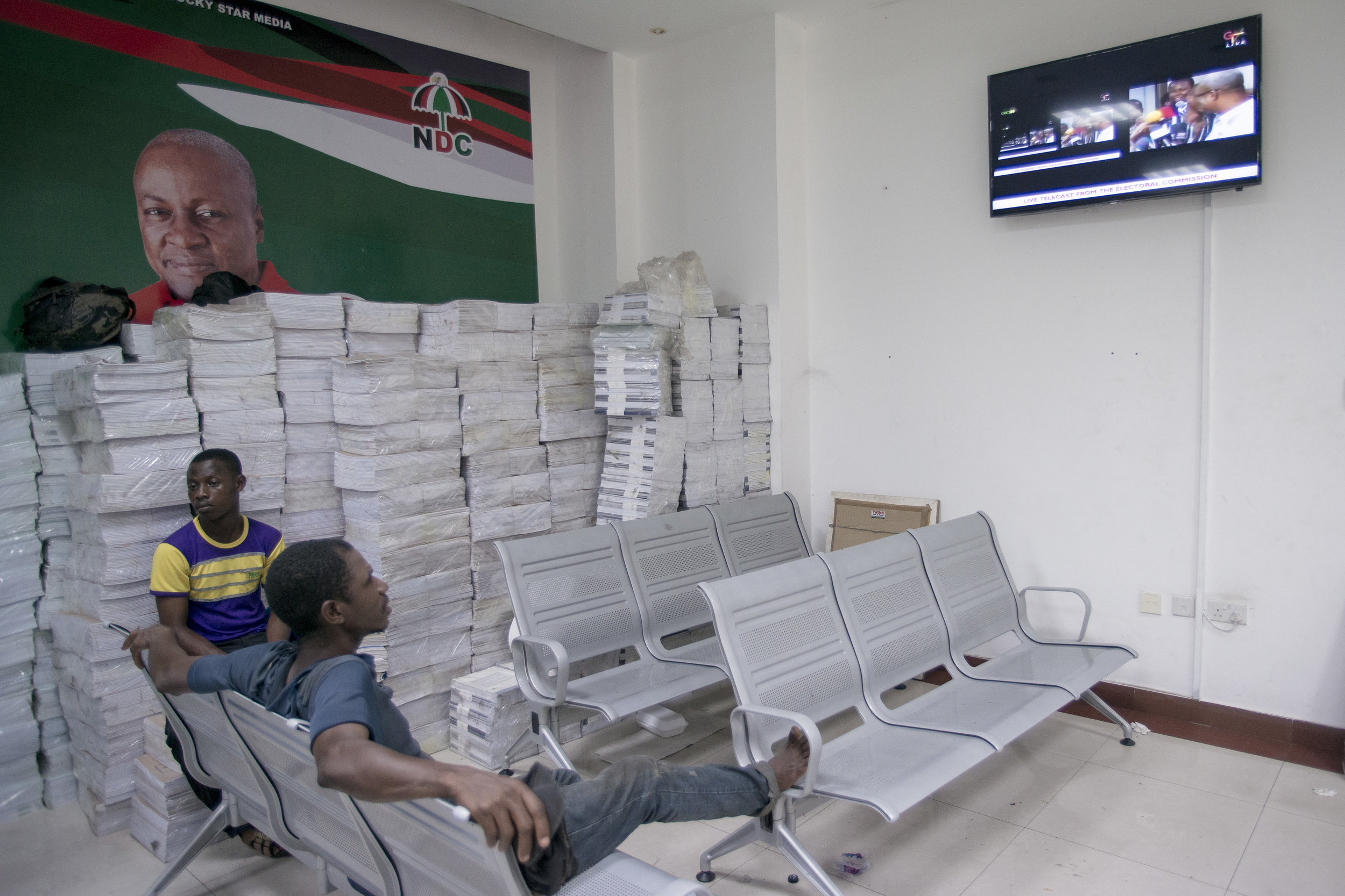NDC supporters at Adrabraka NDC headquarters after knowing NPP party won the December 7th Ghanaian General Election