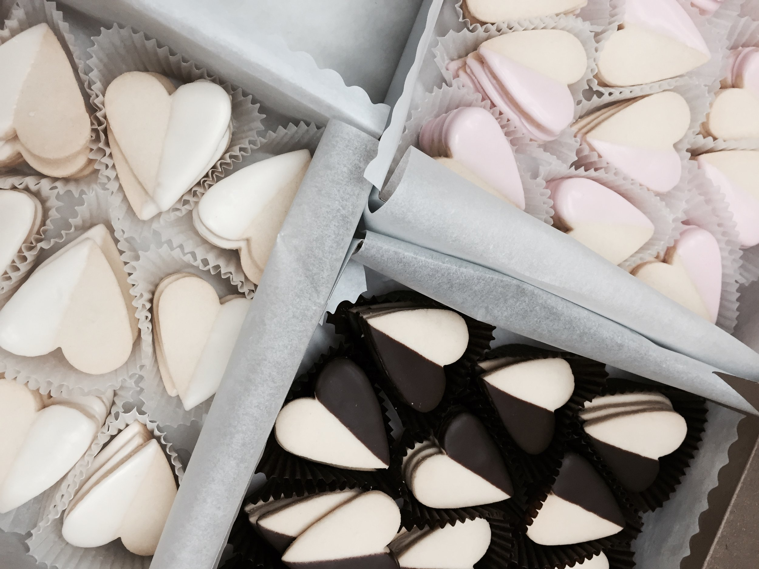 Wee Shortbread Hearts - hand dipped in white, dark or tinted chocolate (may require 24 hrs notice) @1.00 each