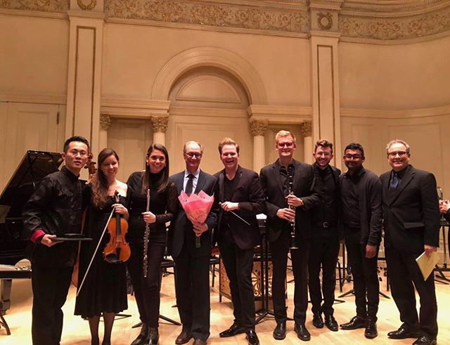 Post concert photo after premiere of my work LÍ—BRIGHTNESS at Carnegie Hall yesterday. What a great group of musicians and composers. Honored to have been a part of it.