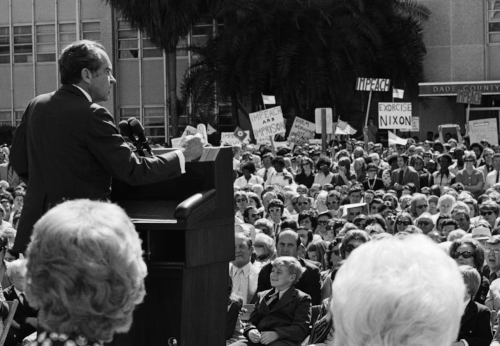 US President Nixon addressing Americans