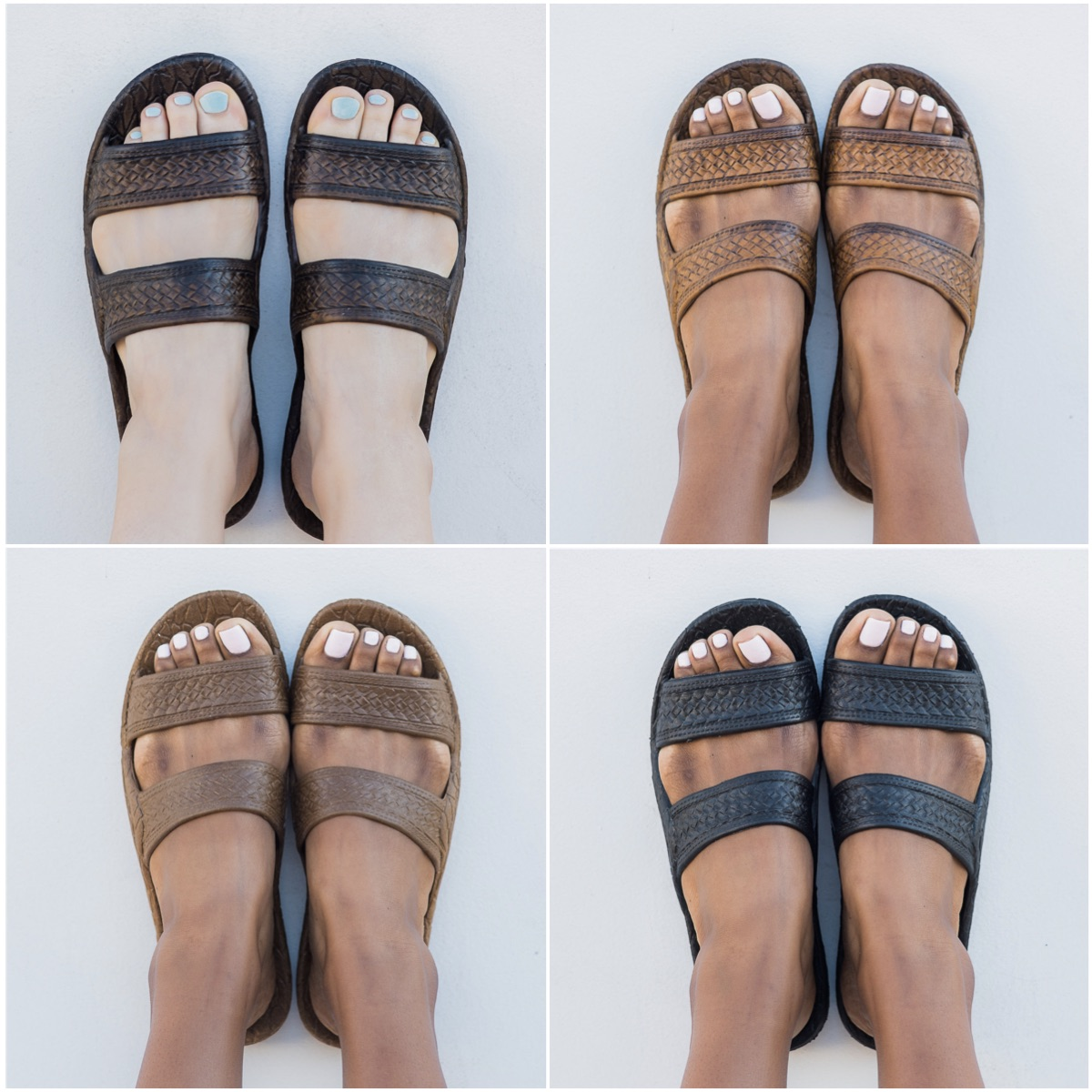 The Classic Jandal ® in Dark Brown, Light Brown, Brown and Black.