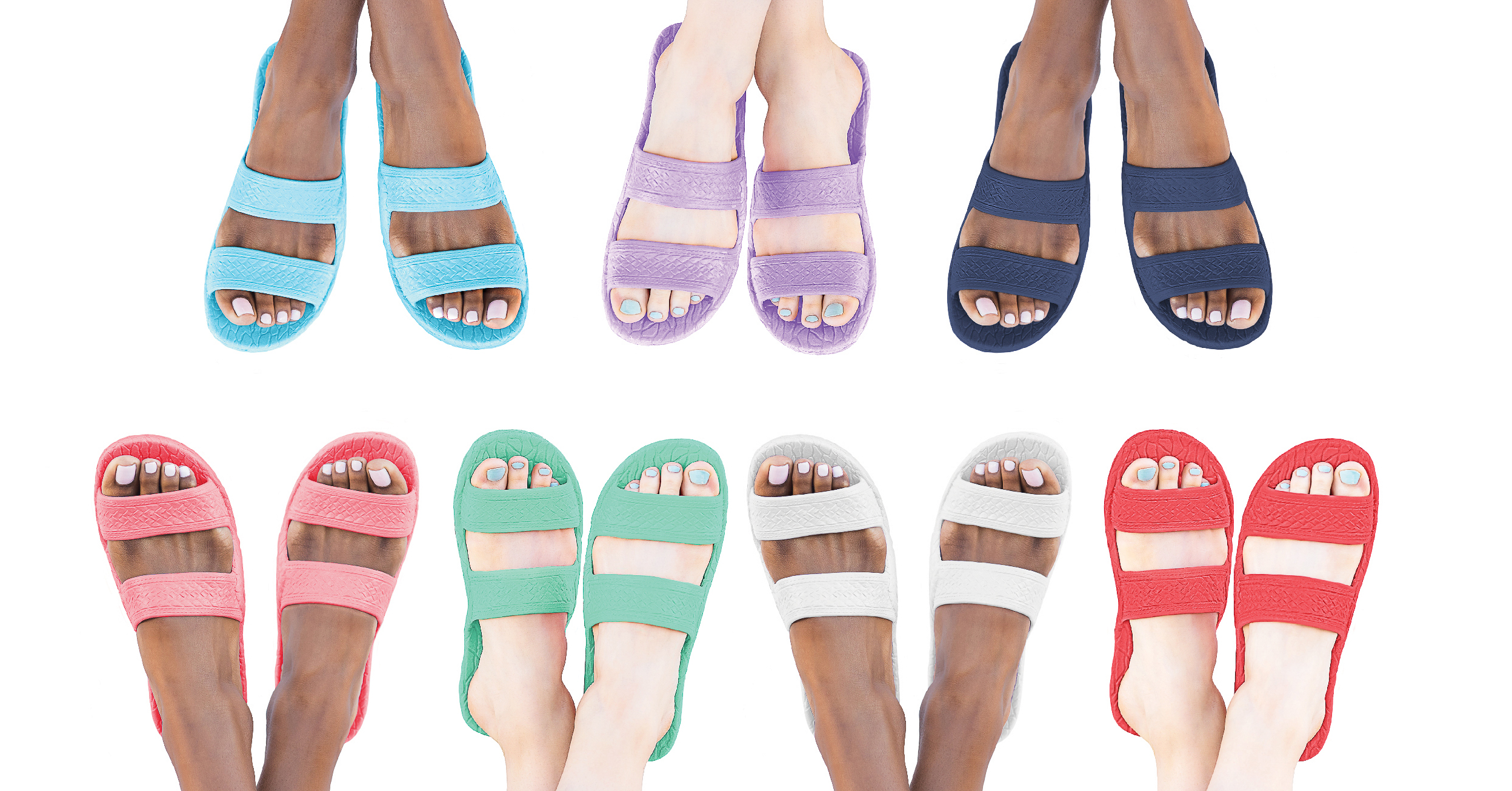 Color Jandals® - Red, Navy, White, Pink, Aqua, Lilac and Green
