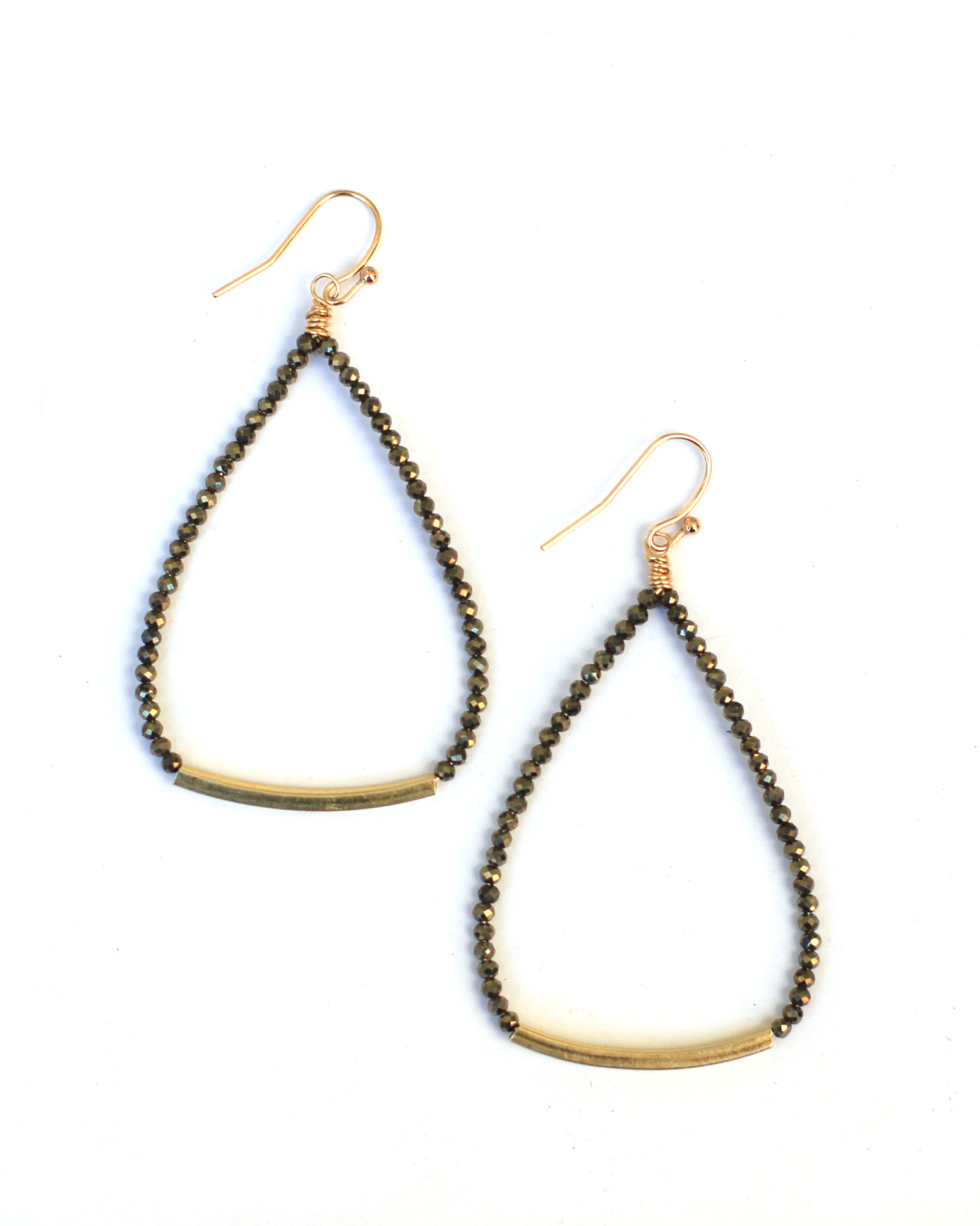 A perfect pair: The Beaded Bar Earring in Pyrite