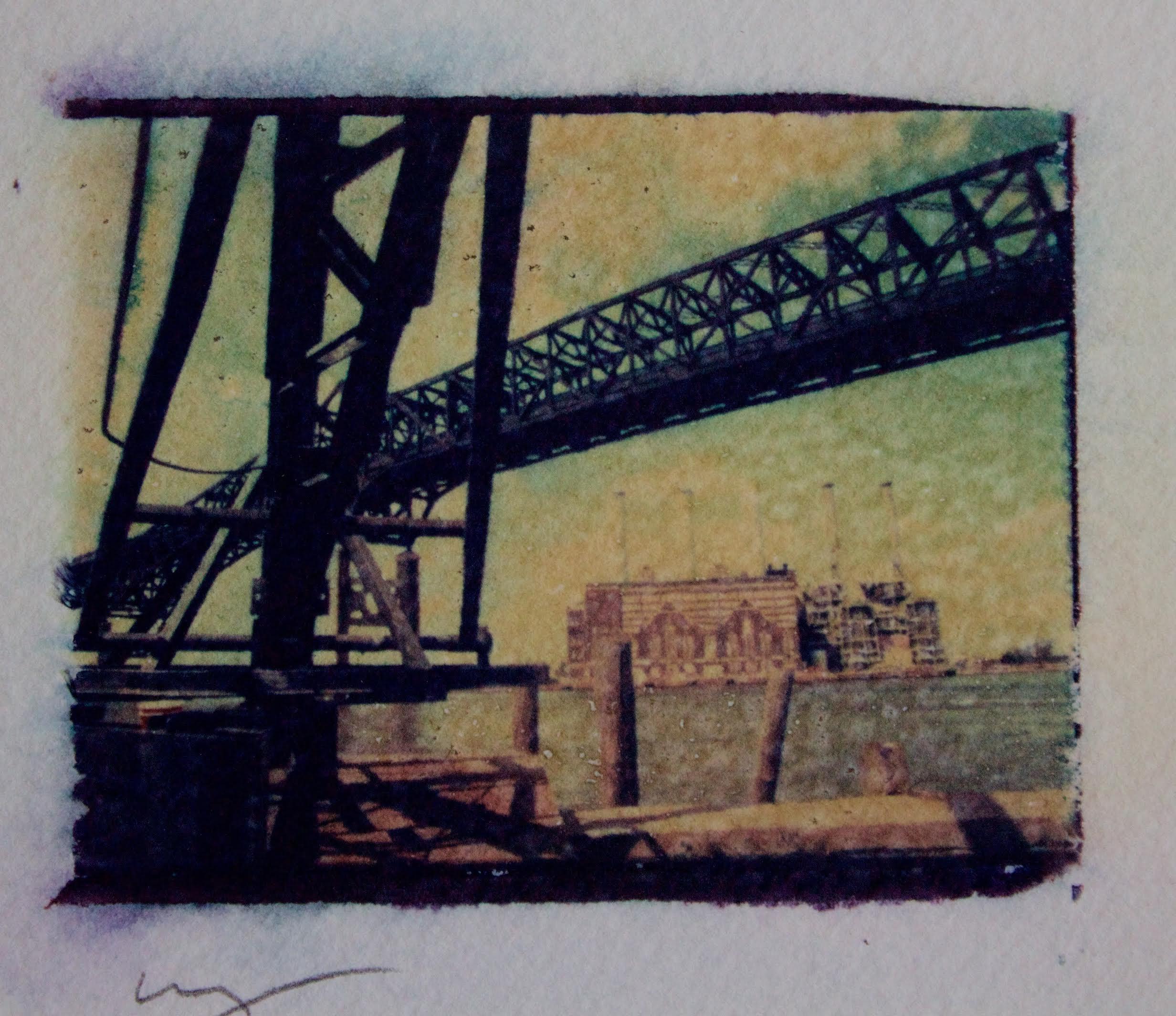 Polaroid dye transfer of Pulaski Skyway, Jersey City. Photograph by Bill Bayer.