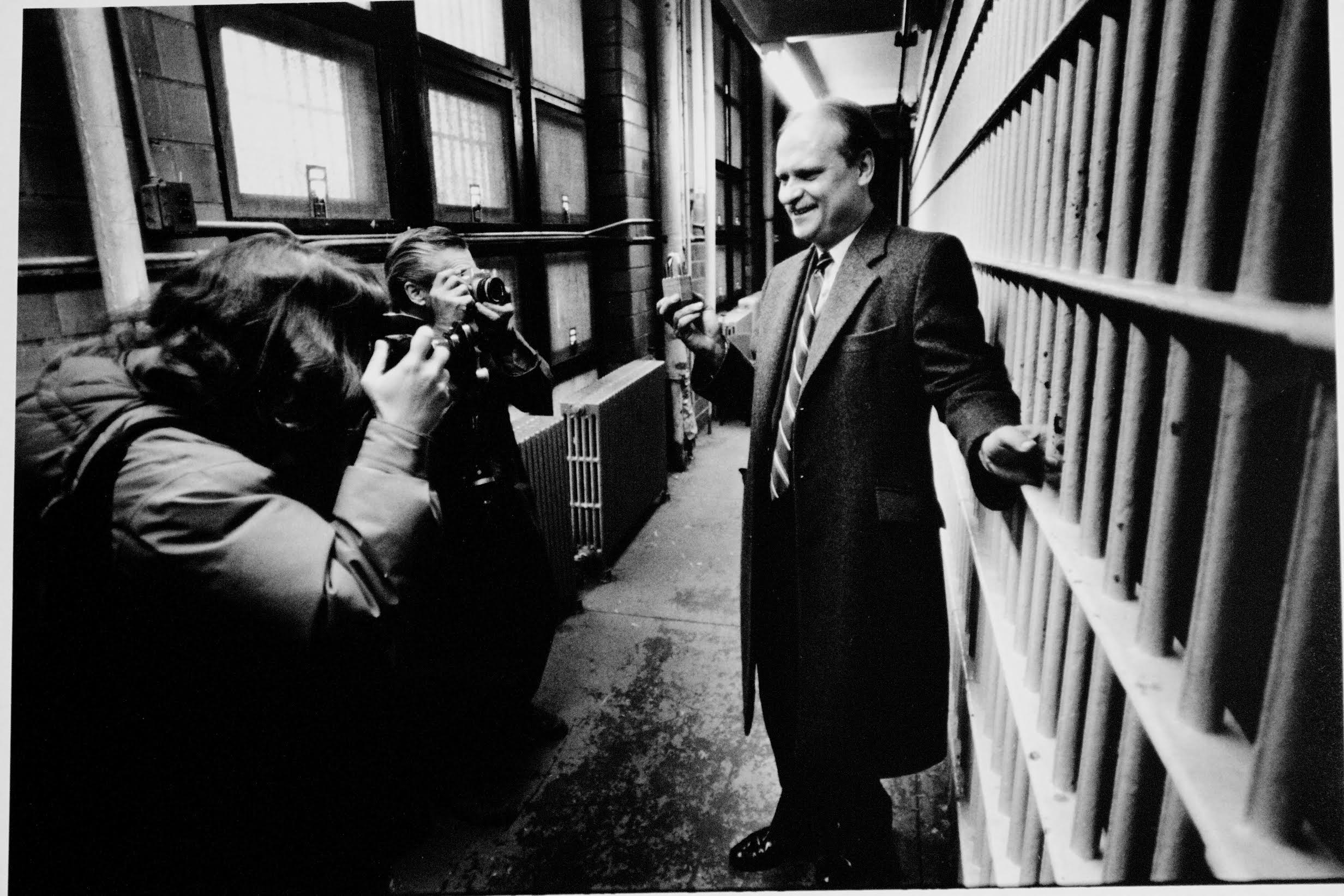 Then County Executive, Robert Janiszewski, poses for the press at the Old Hudson County Jail. He was later indicted and convicted on corruption charges and spent time behind those bars. Photograph by Bill Bayer.