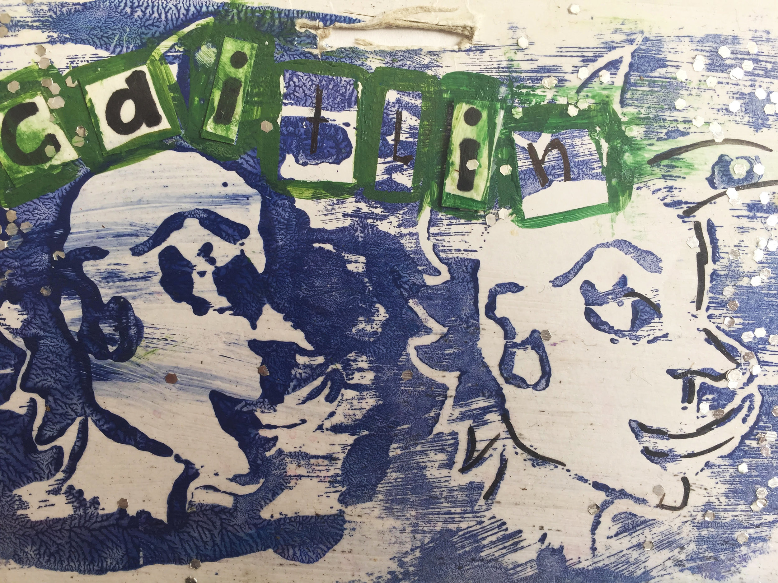 """Name Tag from Summer Camp,"" wood block print; courtesy of the artist"
