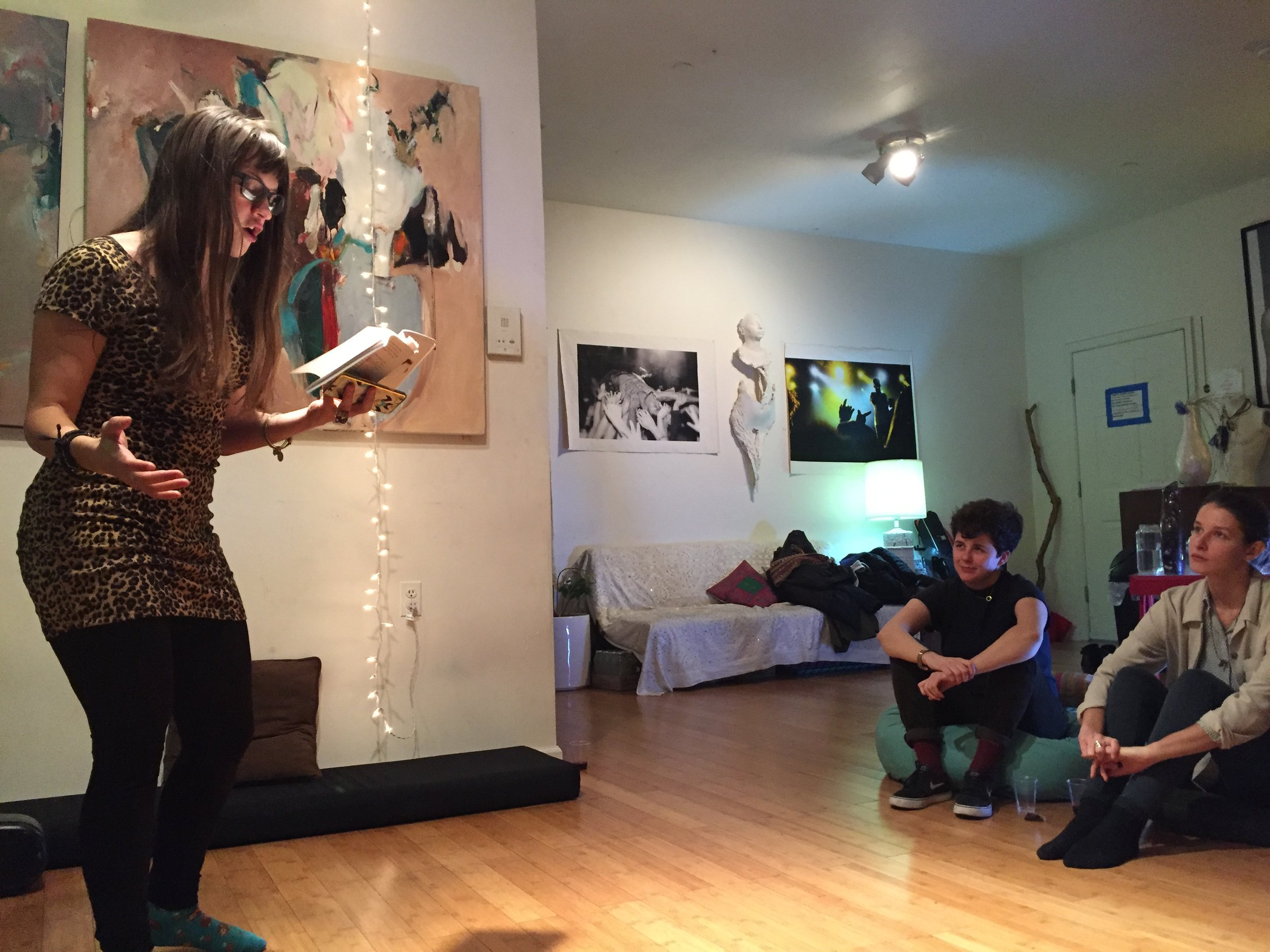 Dallas Athent reads poems from Theia Mania during Texts 2 Tascha