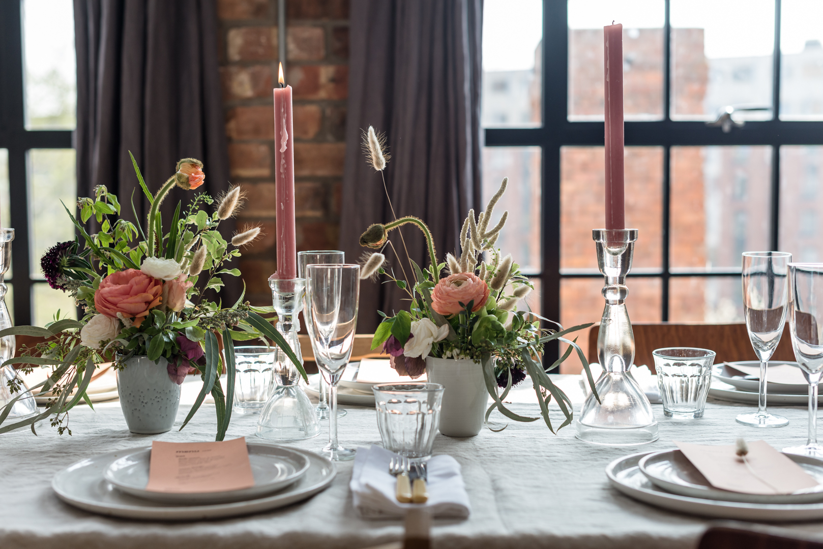 Beautifully styled long table at unique private dining space and party venue for hire in central Bristol