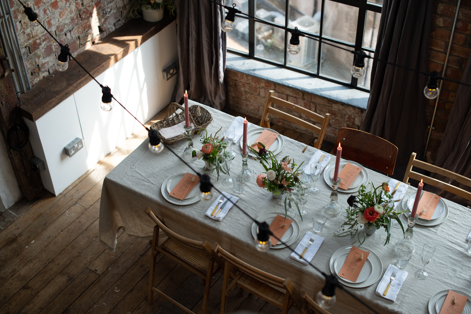 Beautifully styled long table at unique private dining space and party venue for hire for weddings, parties, celebrations, hen parties and baby showers in central Bristol
