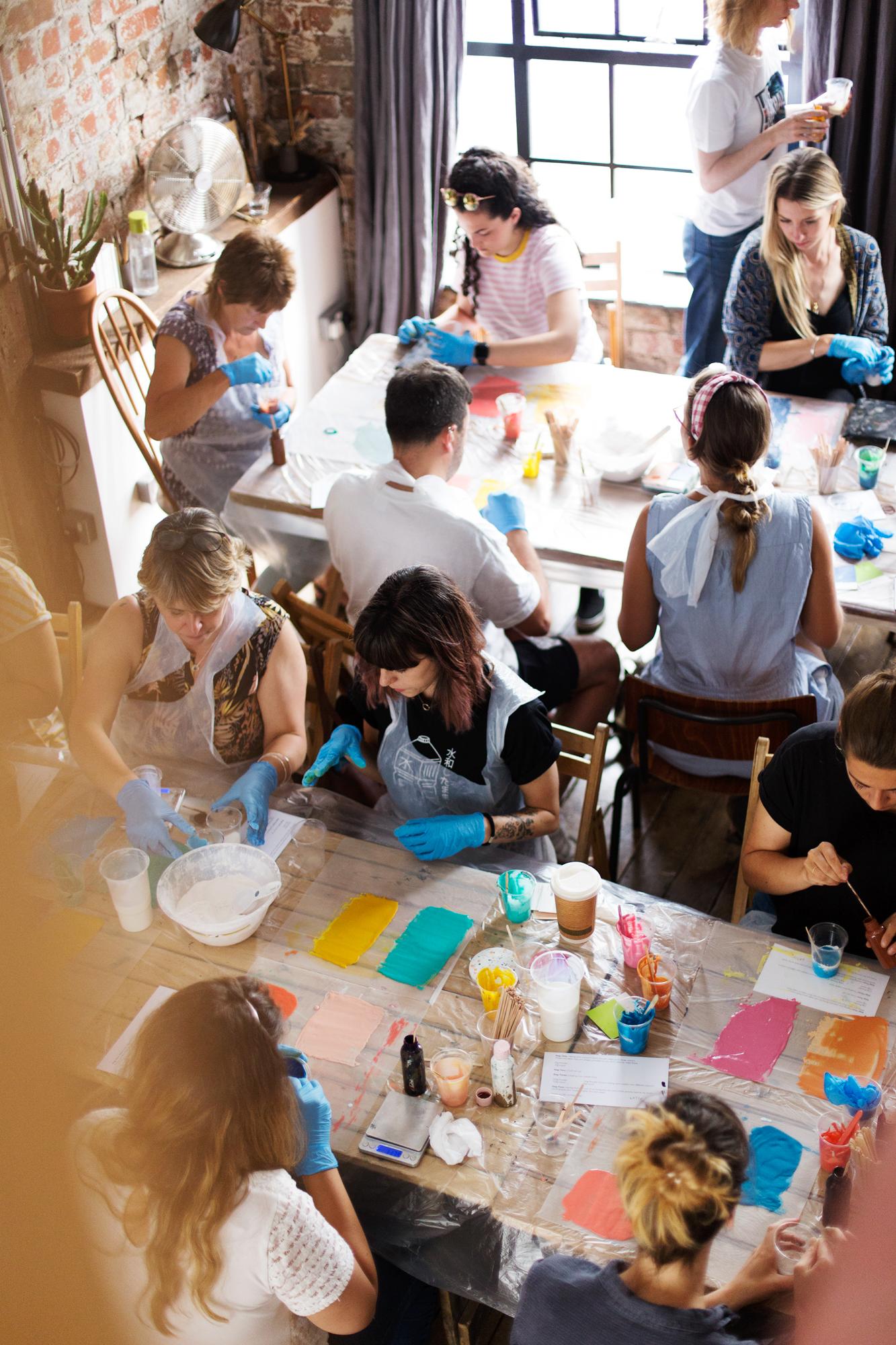 Modern art and craft classes in Bristol workshop. Making Jesmonite Terrazzo tiles at creative workshop with Katie Gilles