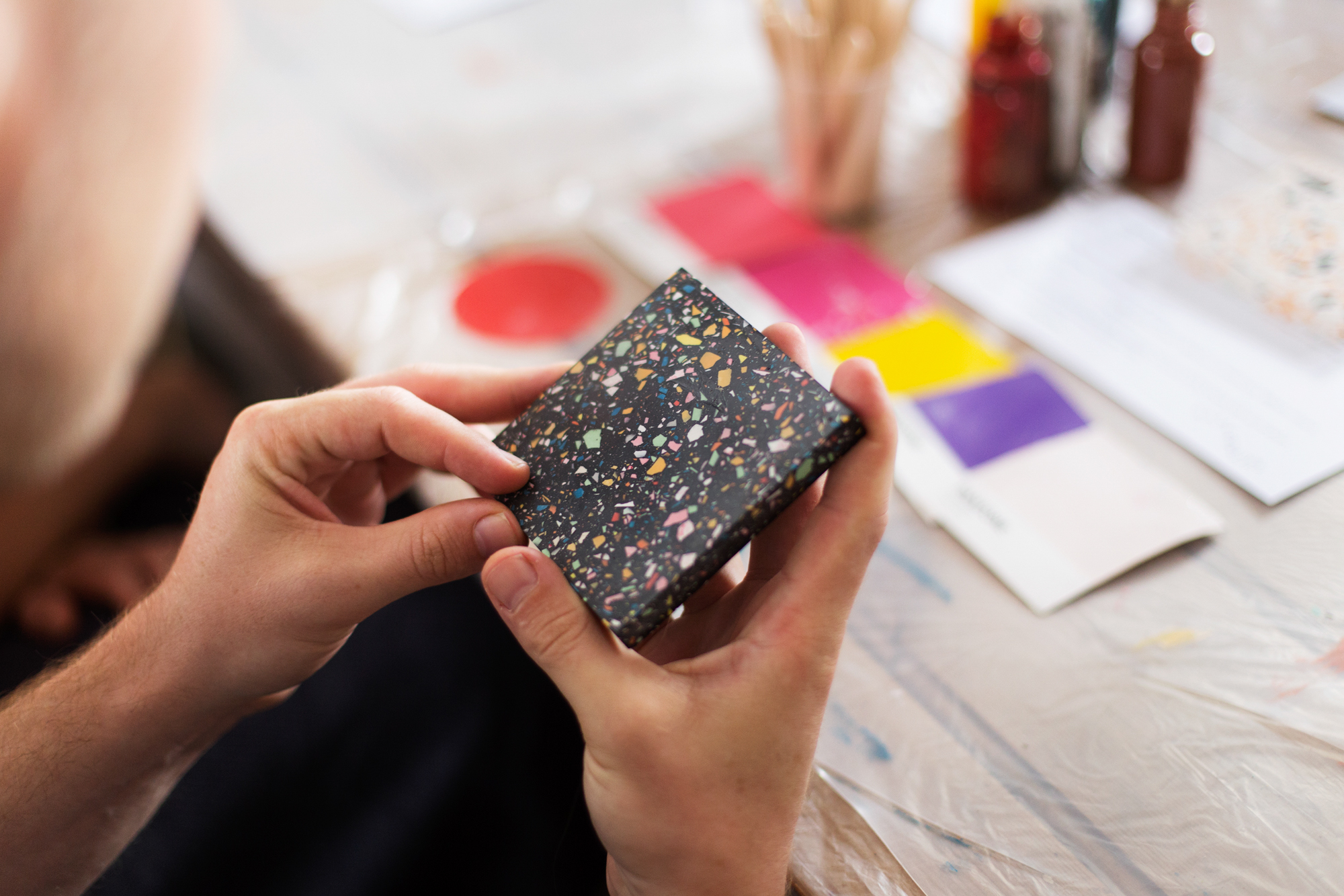 Beautiful Jesmonite Terrazzo tiles made at creative workshop art and craft class at the Forge Bristol