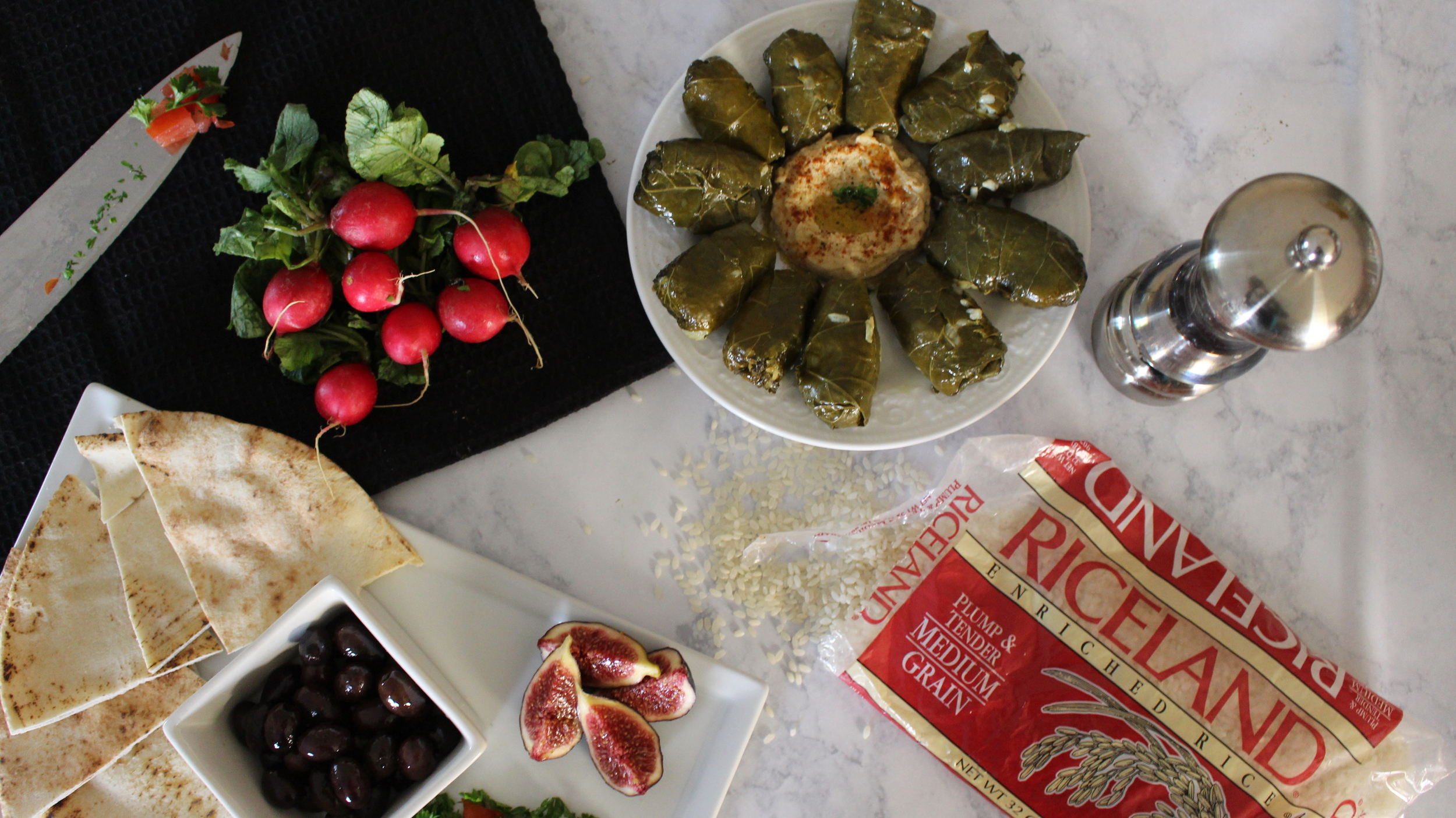 Mediterranean Mezze with Riceland Rice Stuffed Grape Leaves vegan gluten-free Lebanese cuisine Family cooking making memories