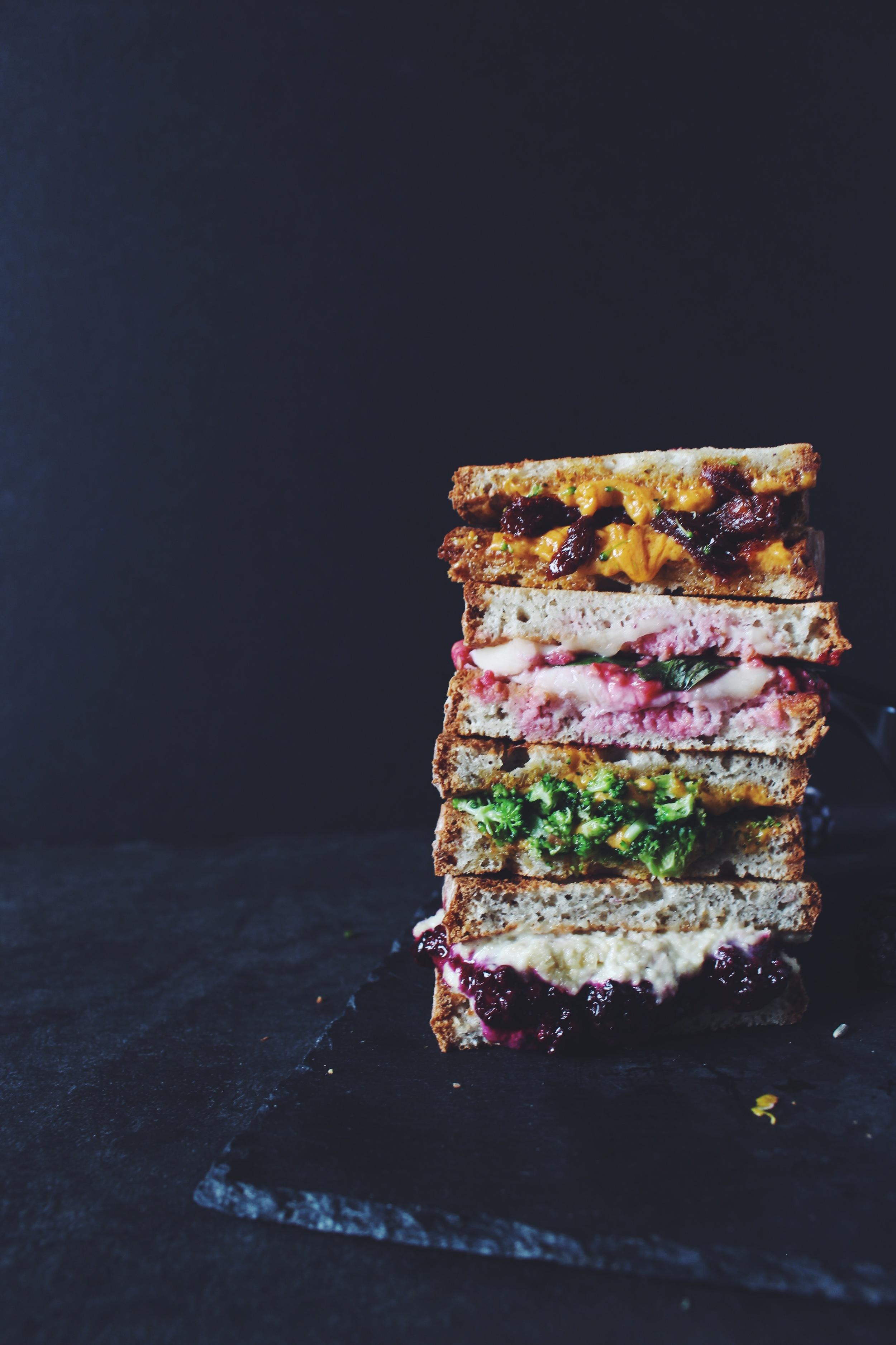Vegan Grilled cheese sandwich recipes | Broccoli cheddar / raspberry basil / lavender lemon blackberry ricotta / sun dried tomato and cheddar / caramelized onion and cheddar