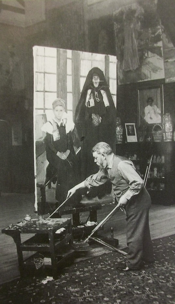 Joachin Sorolla working with incredibly long brushes