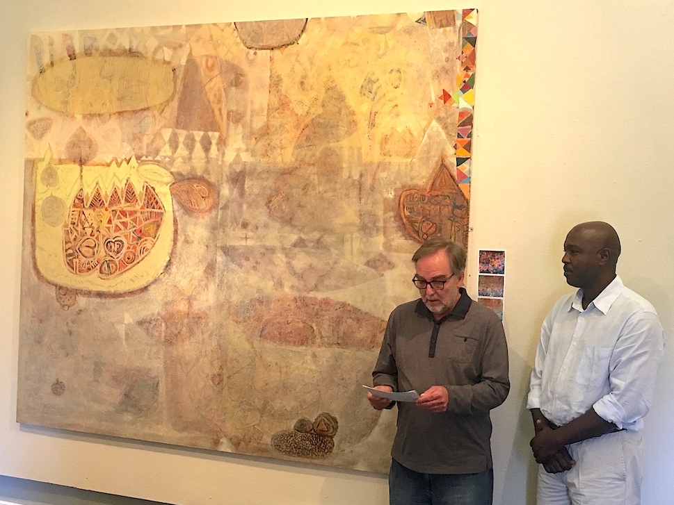 'Somewhere in Africa' by Pietermaritzburg-based Sudanese artist Hussein Salim was purchased by FOTAG for the Tatham Art Gallery permanent collection with funds raised by sales from the 2015 Fabulous Picture Show. It was unveiled on Sunday 26 June. Seen here are Brendan Bell (TAG director - left) and the artist.