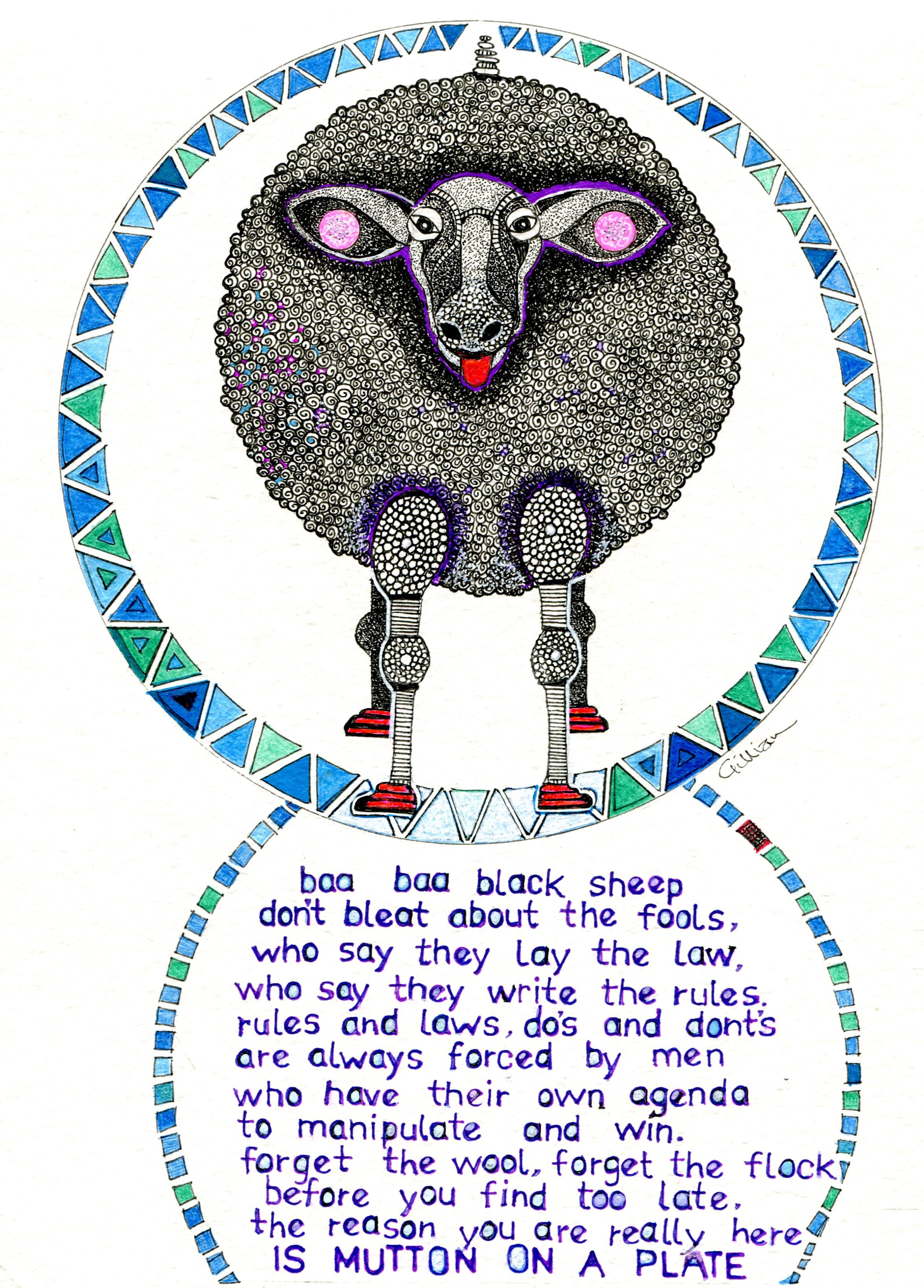 5A GILLIAN GERHARDT, BAA BAA BLACK SHEEP, PEN & INK ON PAPER