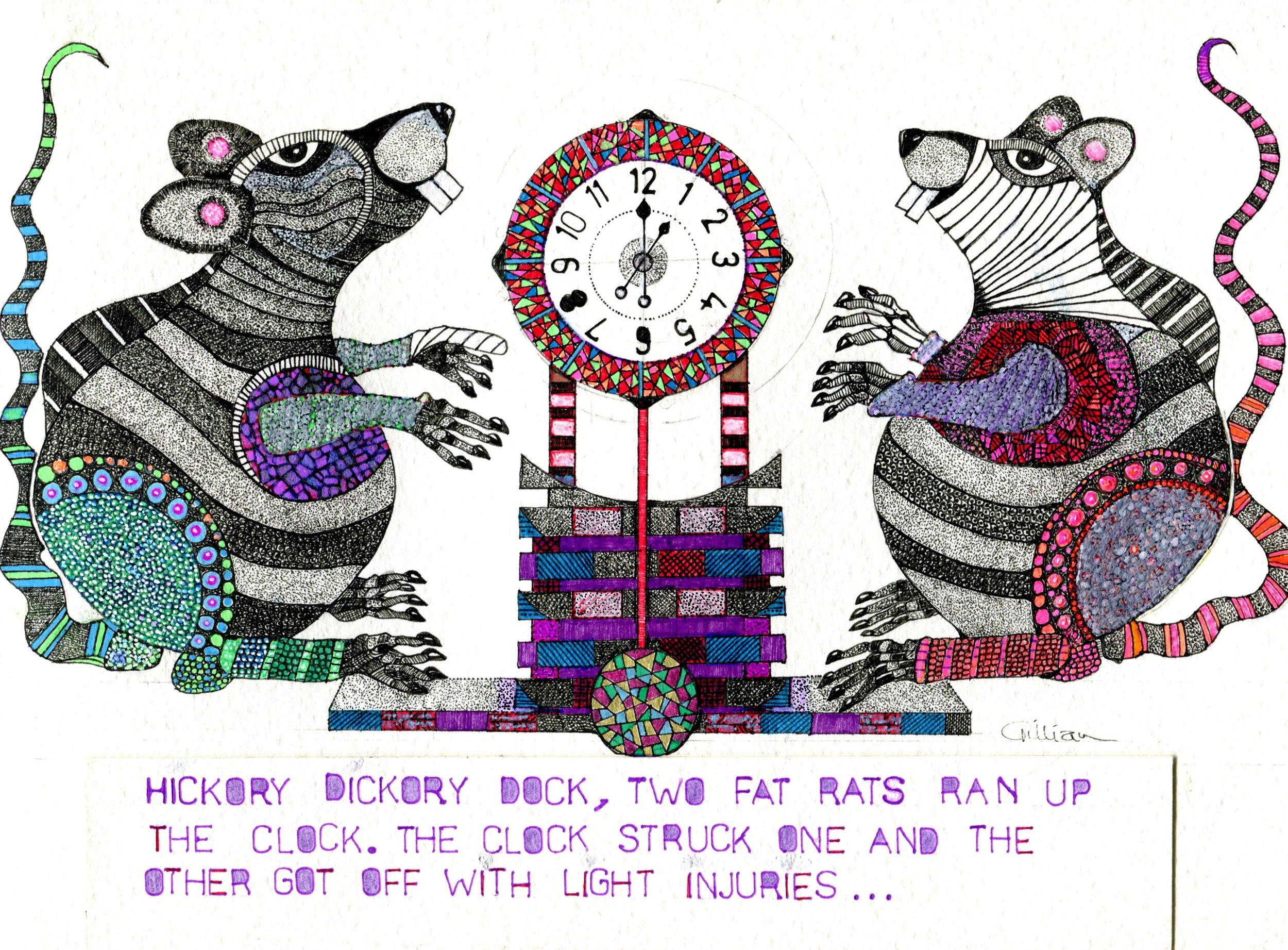 5B GILLIAN GERHARDT, HICKORY DICKORY DOCK, PEN & INK ON PAPER