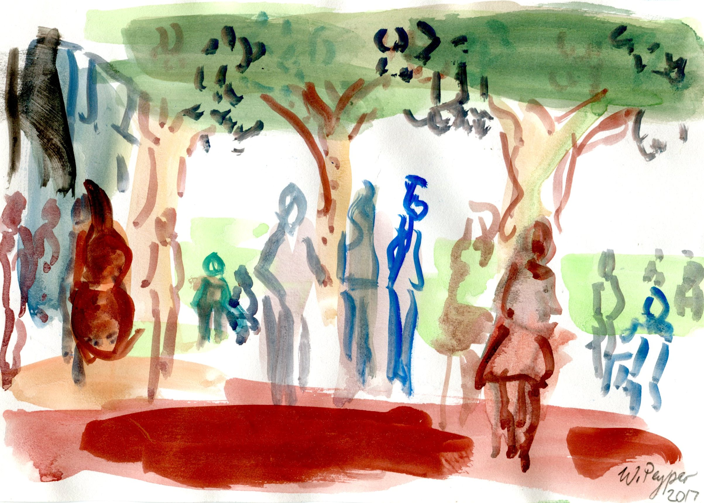 7C WAYNE PEYPER, CONCERT IN THE PARK, WATERCOLOUR ON PAPER