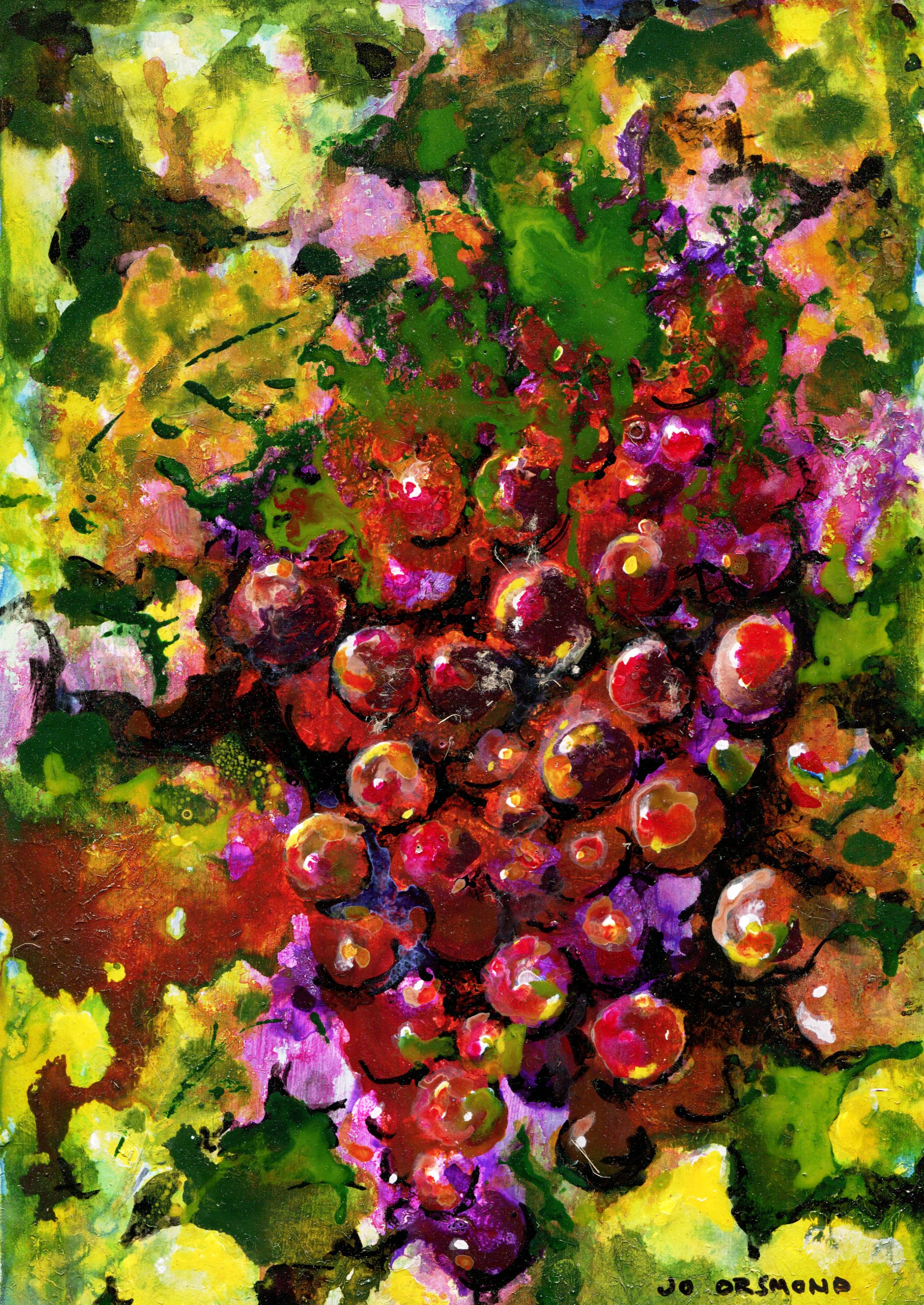 14B JO ORSMOND, HIDDEN GRAPES, ACRYLIC & INK ON BOARD