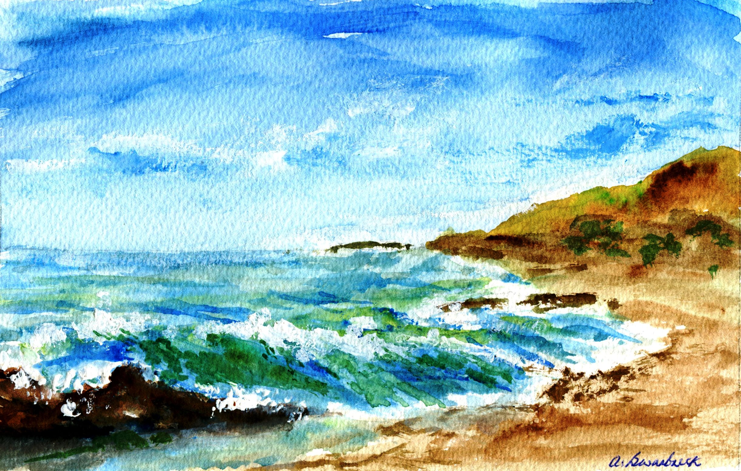 15B ANNE SWARBRECK, SEASCAPE 2, WATERCOLOUR ON PAPER