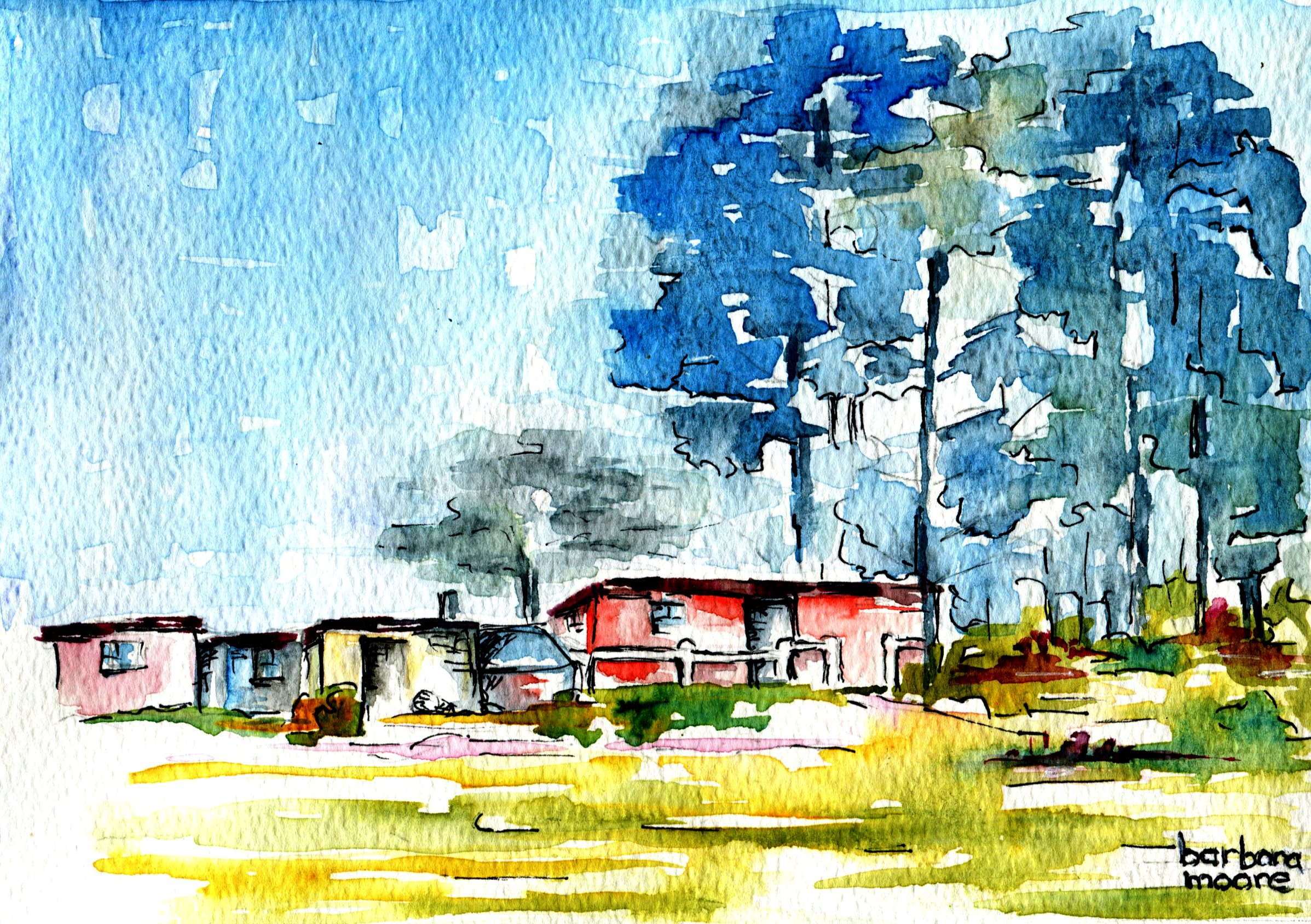 16B BARBARA MOORE, HOME, WATERCOLOUR ON PAPER