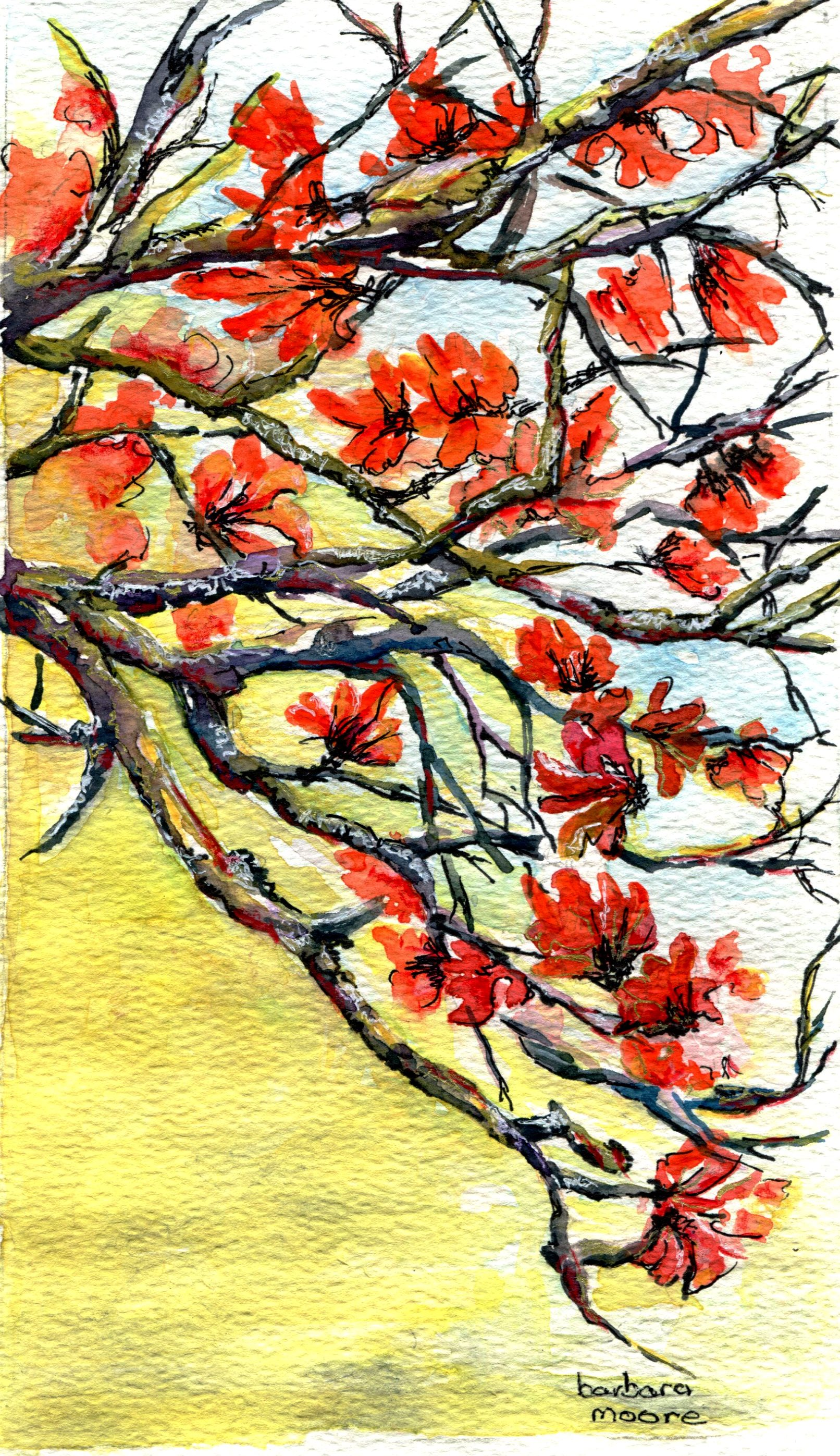 16C BARBARA MOORE, CORAL TREE, WATERCOLOUR ON PAPER