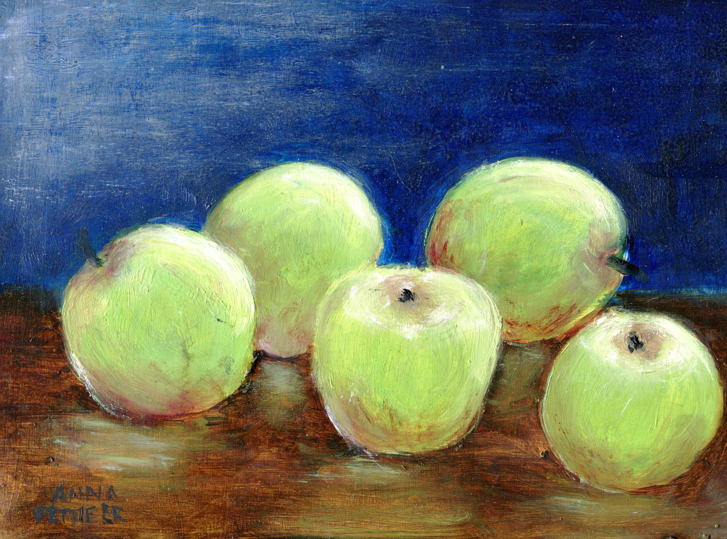 23A ANNA PETTIFER, APPLES, OIL OVER ACRYLIC ON BOARD
