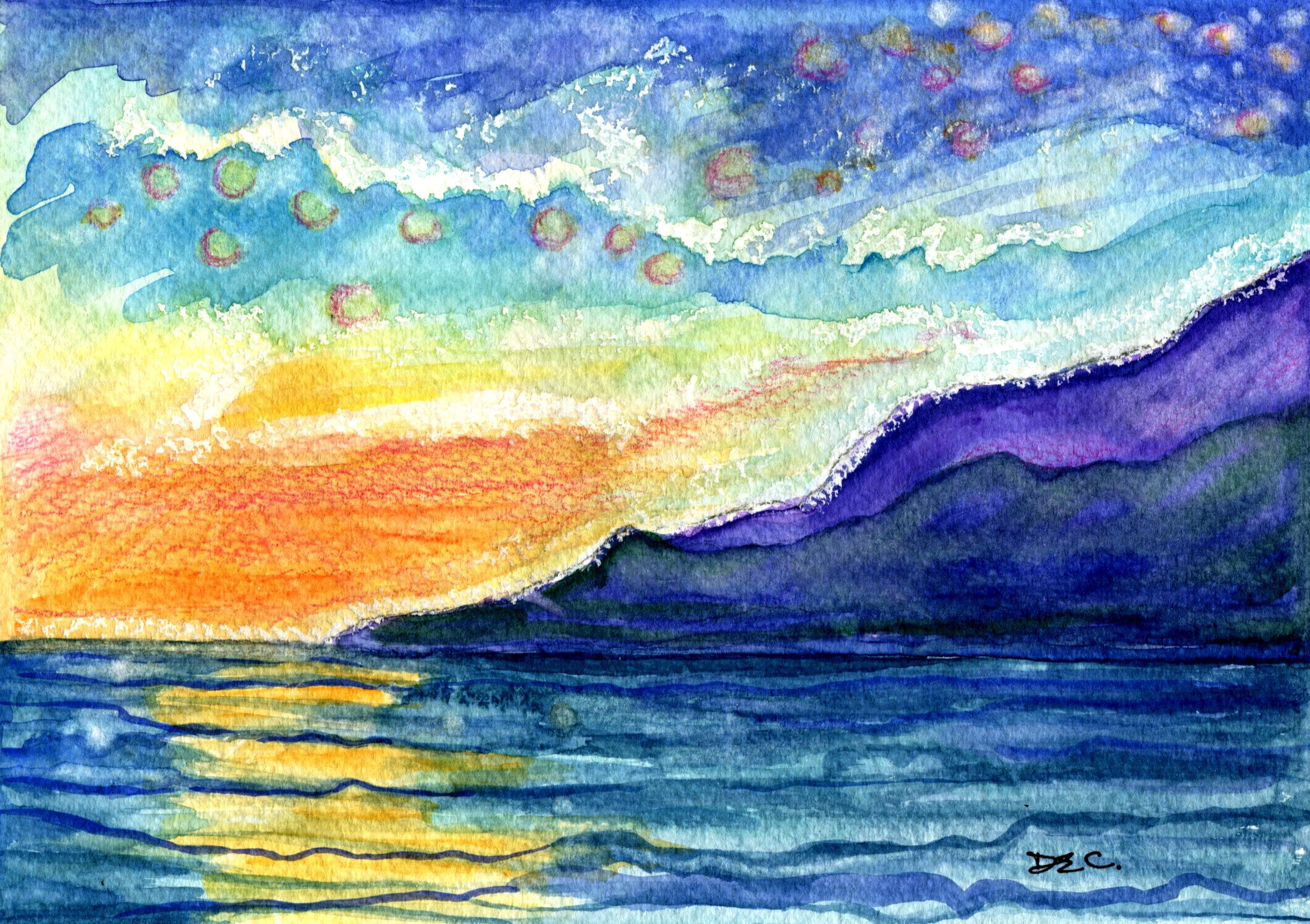 24C, DIANA ELIZABETH CATTELL, SEASIDE SUNSET, WATERCOLOUR ON PAPER