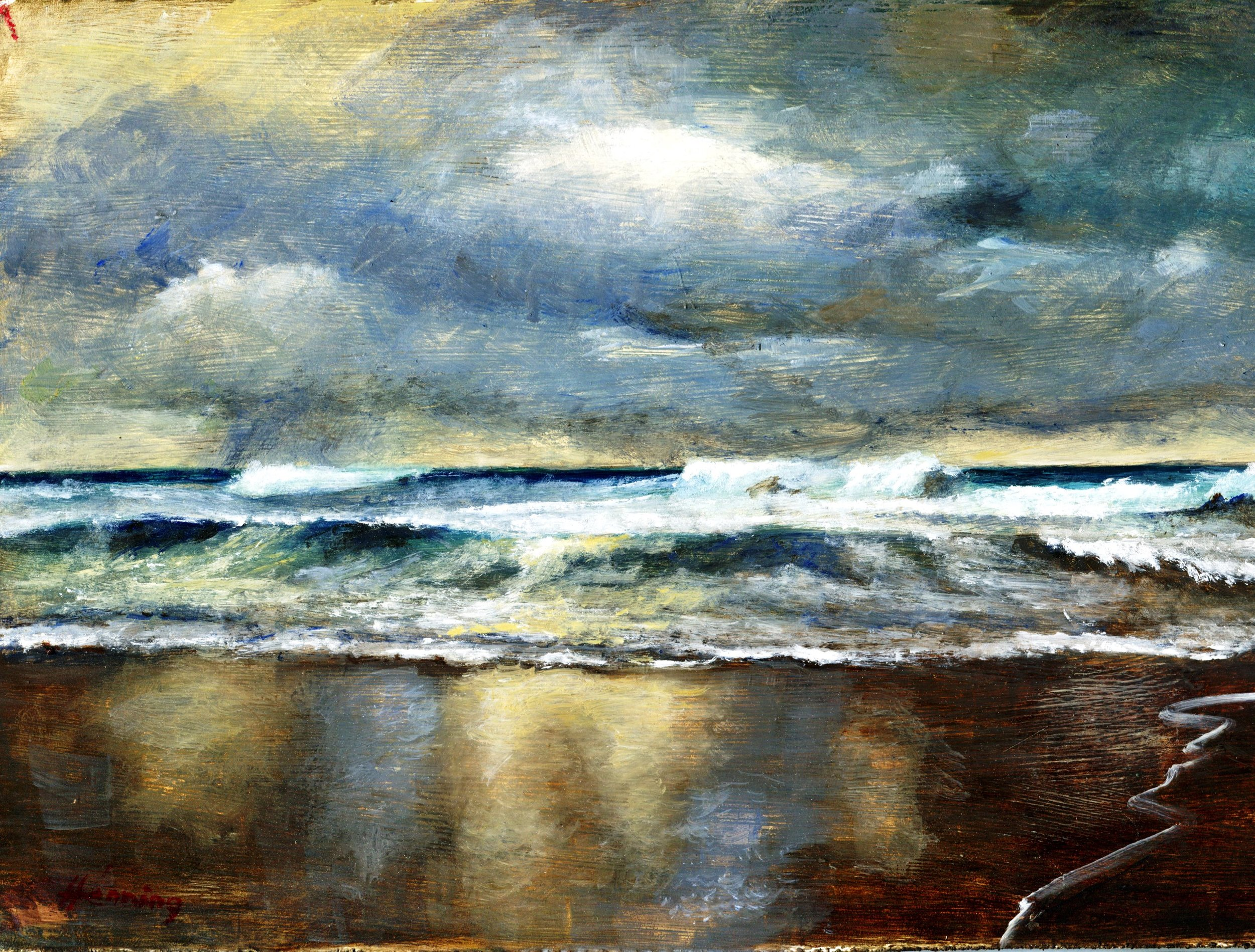 28A DENNIS HENNING, SEASCAPE, OIL ON BOARD