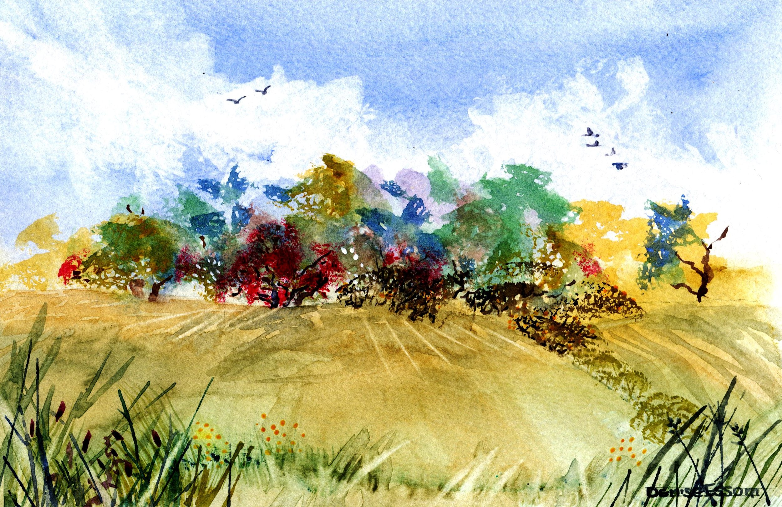 32C DENISE ESSOM, SPRING FIELDS, WATERCOLOUR ON PAPER