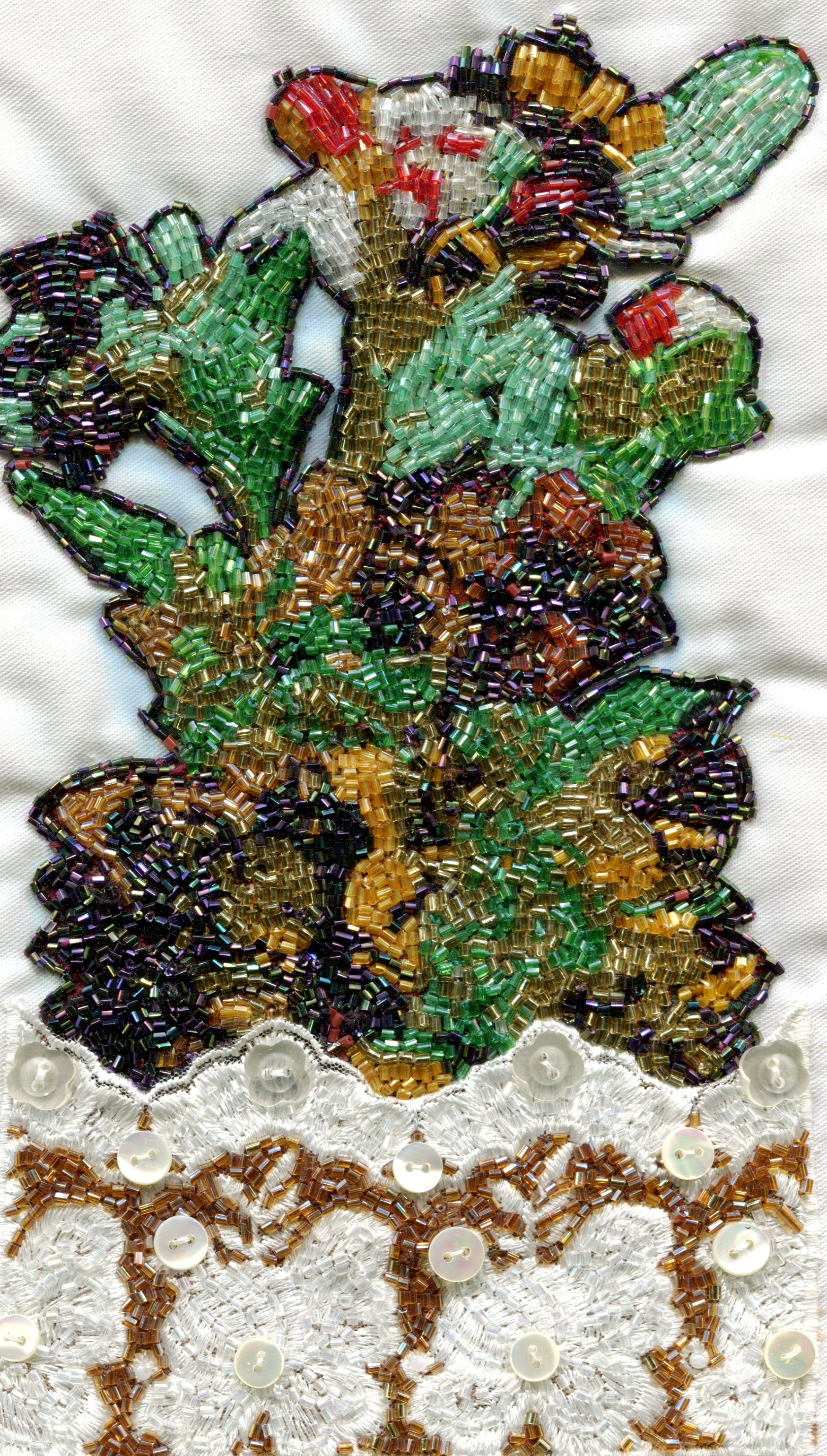 39B BEAUTY SEKETE, BEAUTYFUL FLOWERS, BEADWORK ON FABRIC