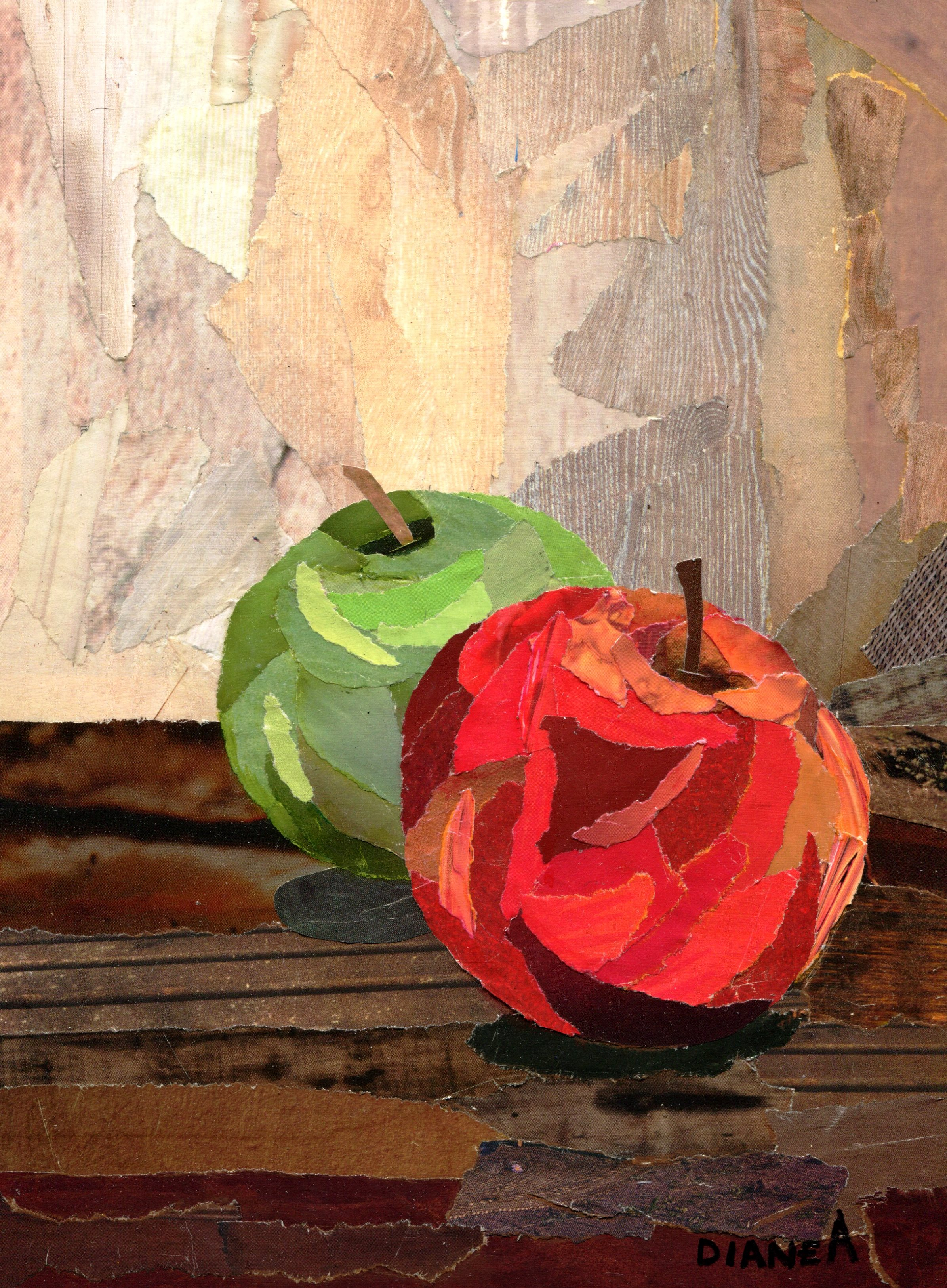 40B DIANE ALDWORTH, APPLES, PAPER COLLAGE ON BOARD